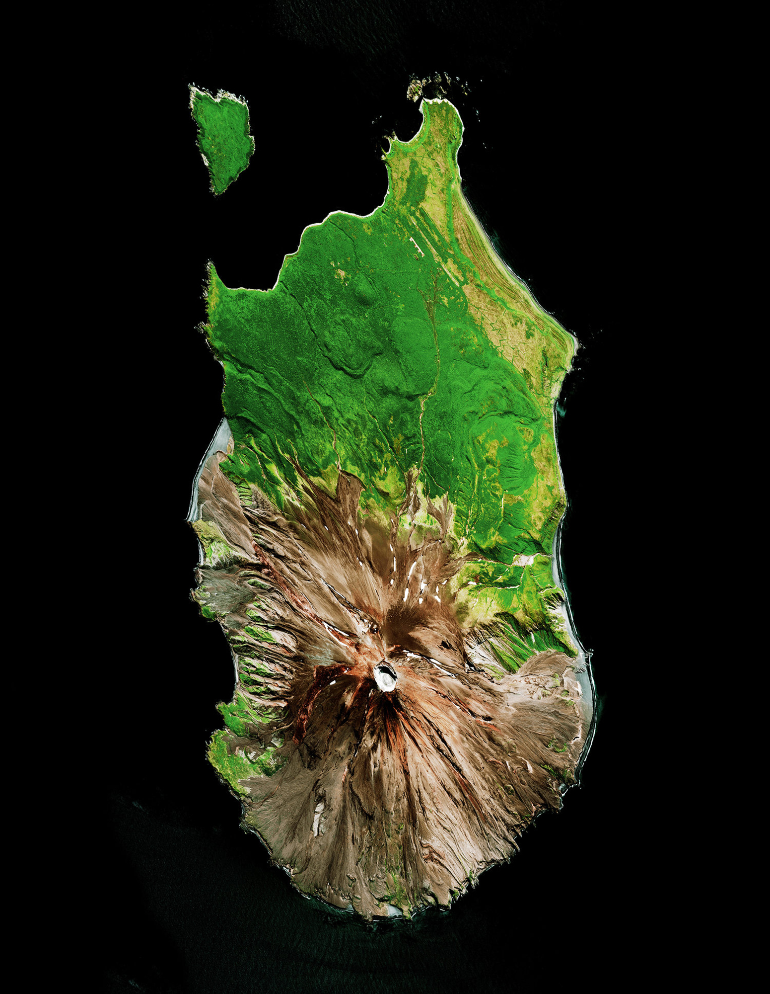 """Sarychev Peak is located on Matua Island in the Kuril Islands of Russia. When the volcano erupted on June 11, 2009, the expulsion of debris caused significant interruption to air traffic between east Asia and North America. The eruption was also so great that astronauts aboard the International Space Station were able to photograph the plumes of ash and smoke rising from its cone, as the force of its shock waves dispersed all clouds covering the area.  48°05'26.9""""N 153°11'59.0""""E  Source imagery: DigitalGlobe"""