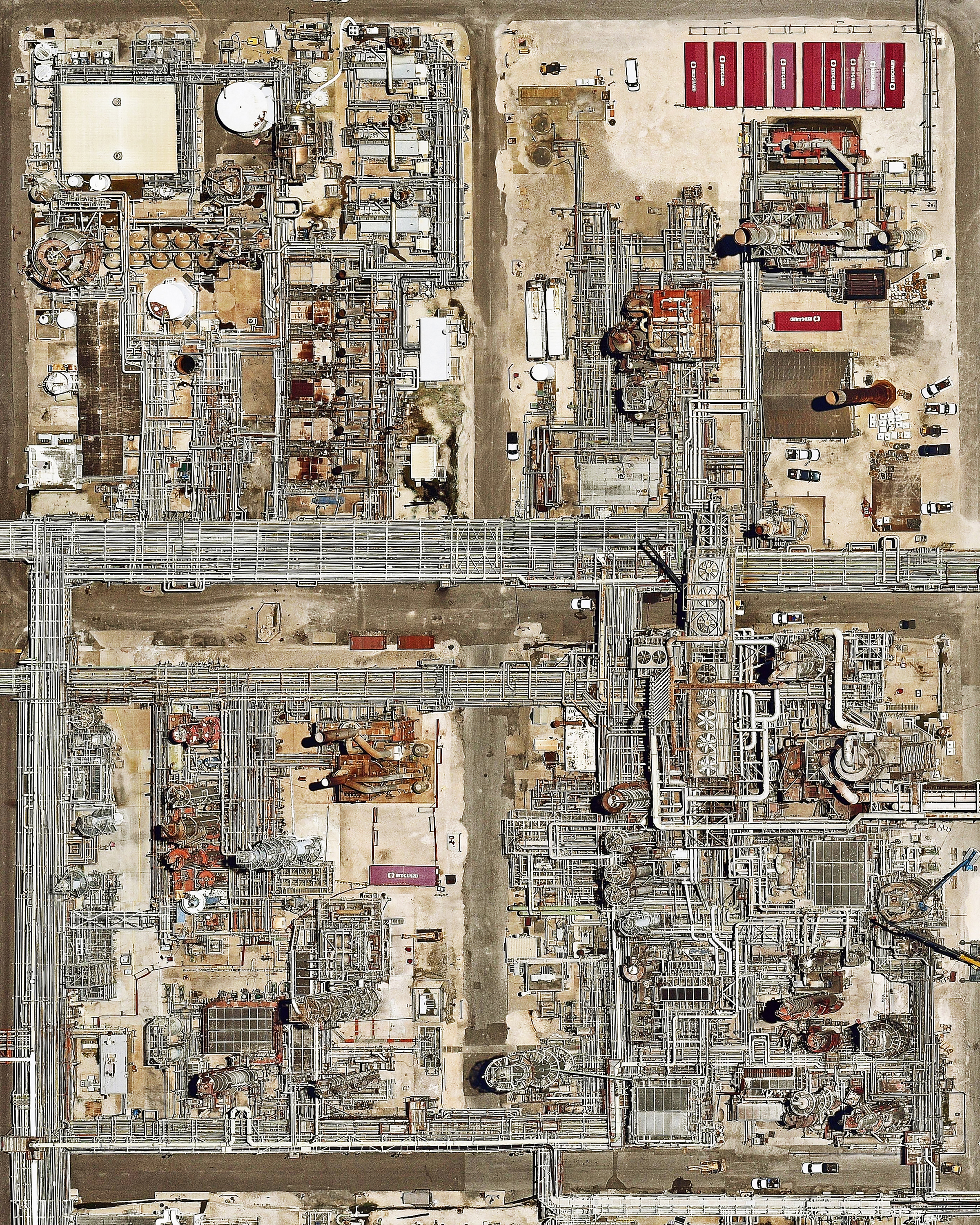 """Check out this Overview, which shows a maze of pipes and other equipment at an oil refinery in Corpus Christi, Texas. Due to its position on the Port of Corpus Christi — the fifth largest U.S. port and deepest inshore port on the Gulf of Mexico — much of the city's economy is driven by the oil and petrochemicals industry. An average of 400,000 barrels of crude oil per day were exported from this port during 2018.  27°50'00.4""""N, 97°31'29.1""""W  Source imagery: Nearmap"""