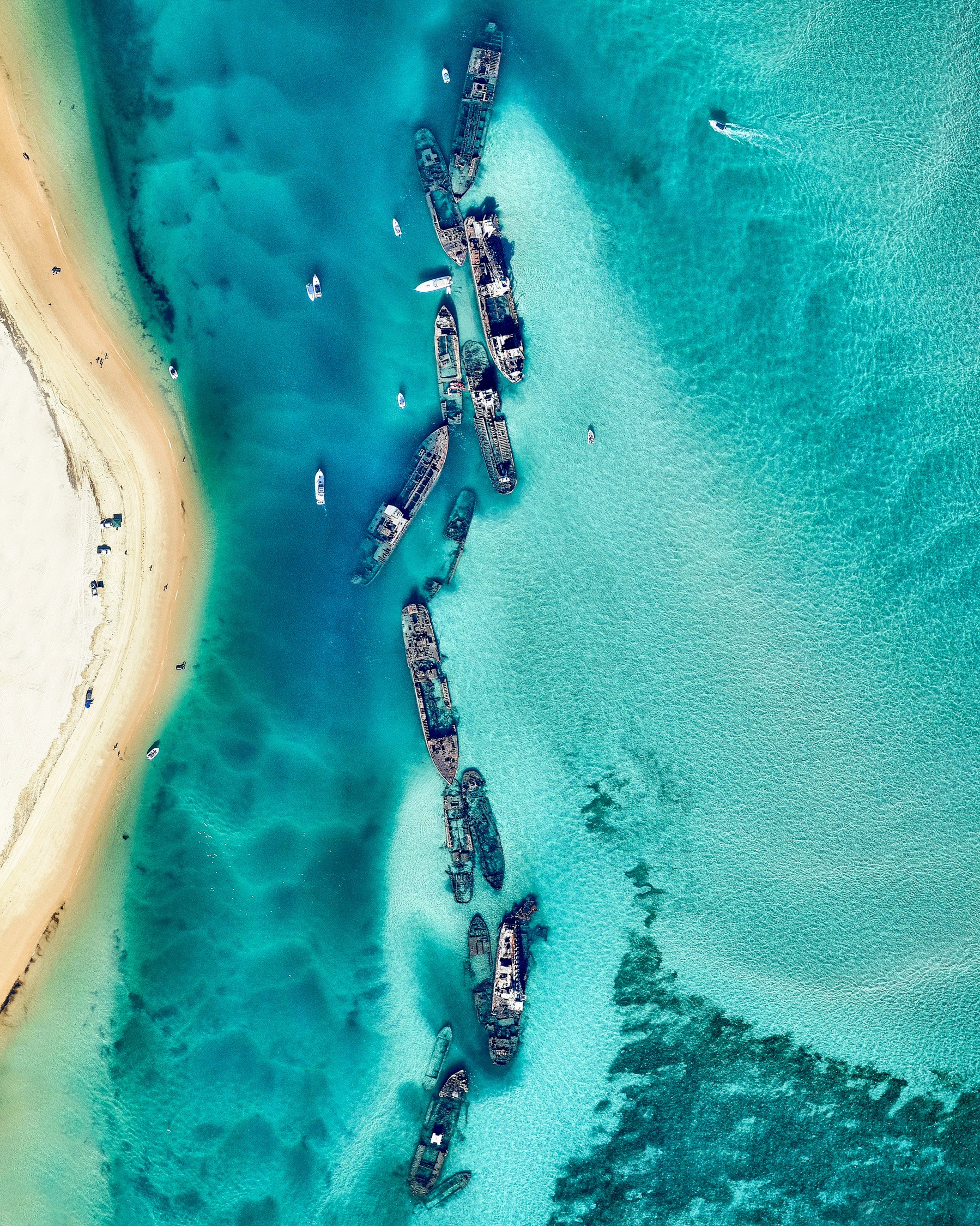 """The Tangalooma Wrecks is a shipwreck site on the western side of Moreton Island in South East Queensland, Australia. It consists of 15 vessels that were deliberately sunk in 1963 to form a breakwall for small boats. In addition to providing safe harbor, the wrecks also created a popular dive and snorkel site, attracting a variety of marine life such as wobbegongs, trevally, kingfish, yellowtail and other tropical fish.  27°09'46.2""""S, 153°22'06.1""""E  Source imagery: Nearmap"""