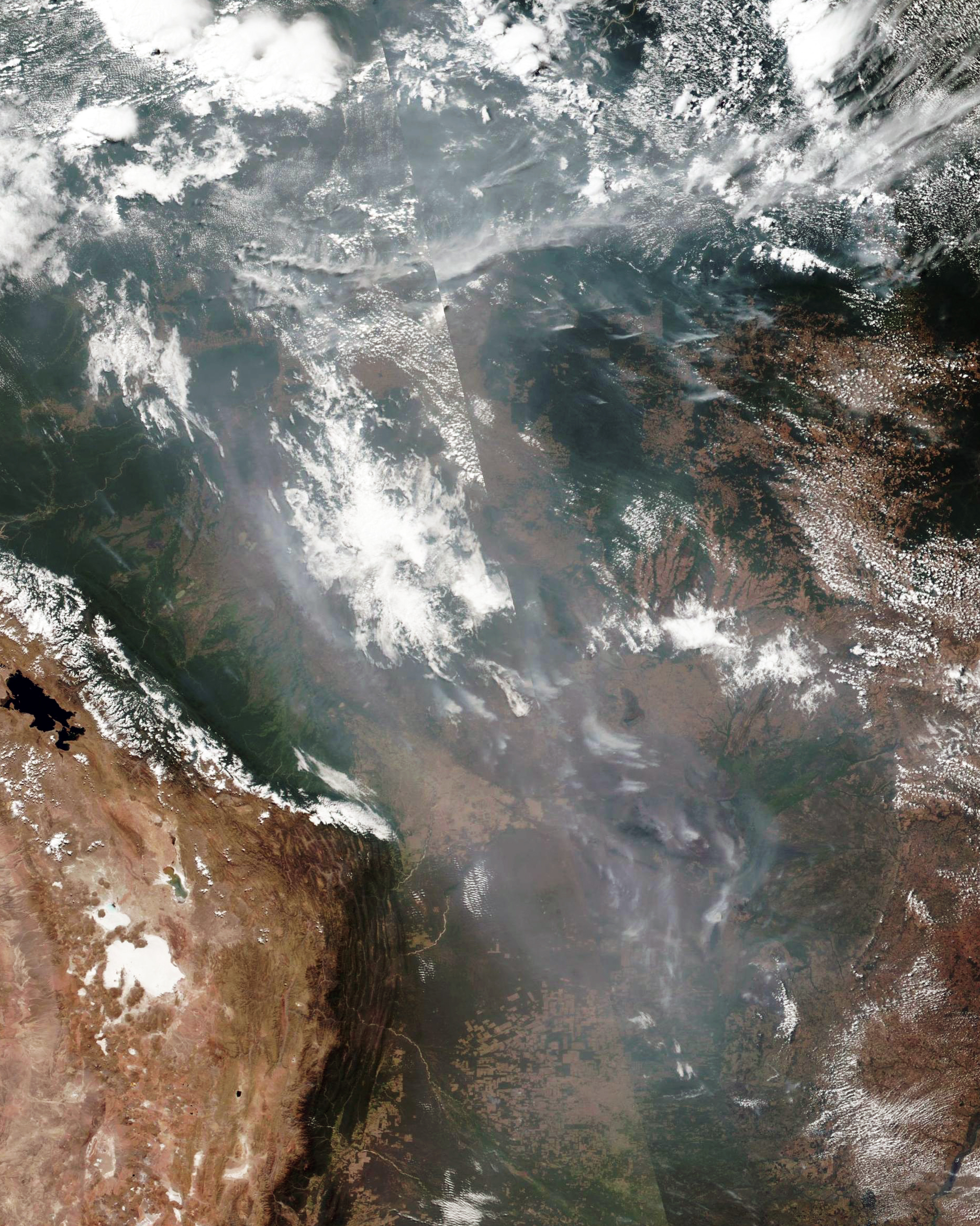 Smoke is visible from space as wildfires burn in the Brazilian states of Amazonas, Mato Grosso, and Rondônia. Nearly 73,000 fires have been reported throughout the Amazon basin this year, a record number that has caused international concern for the future of the world's largest and most biodiverse tract of rainforest. The fires, many of which have been set by loggers and ranchers to clear land for cattle, have also ignited global debate about the environment and agricultural production.  -6.300000°, -61.620000°  Source imagery: National Aeronautics and Space Administration (NASA) & National Oceanic and Atmospheric Administration (NOAA)