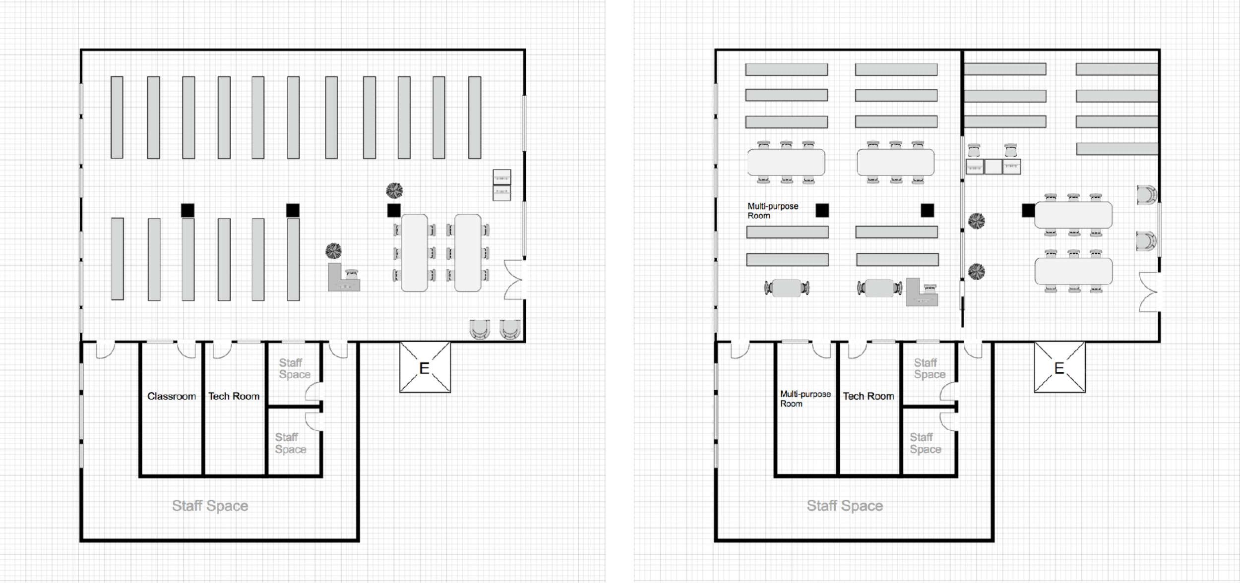 Existing floor plan (left), new design (right).