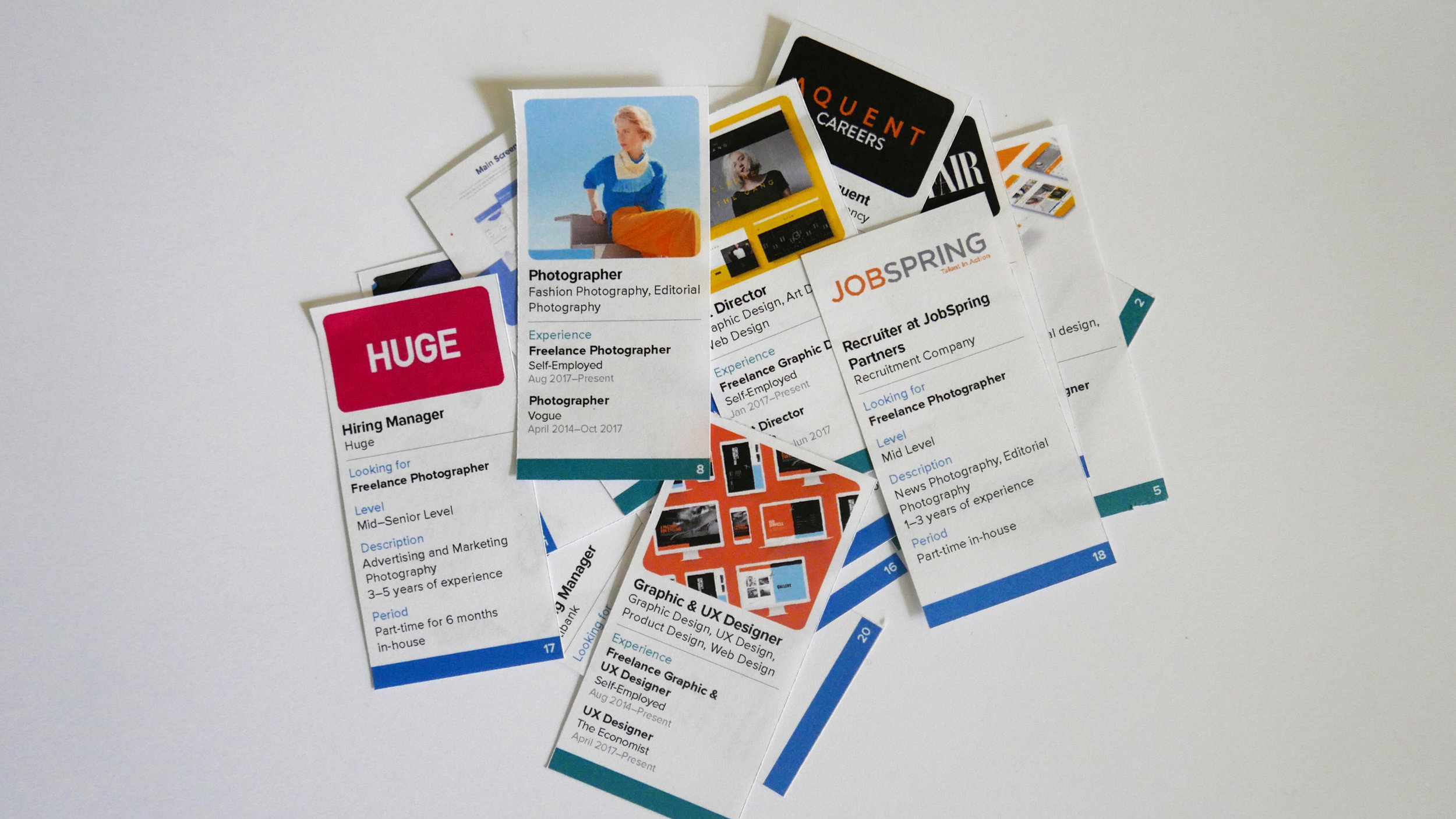Card game to connect freelancers and recruiters to test our idea.