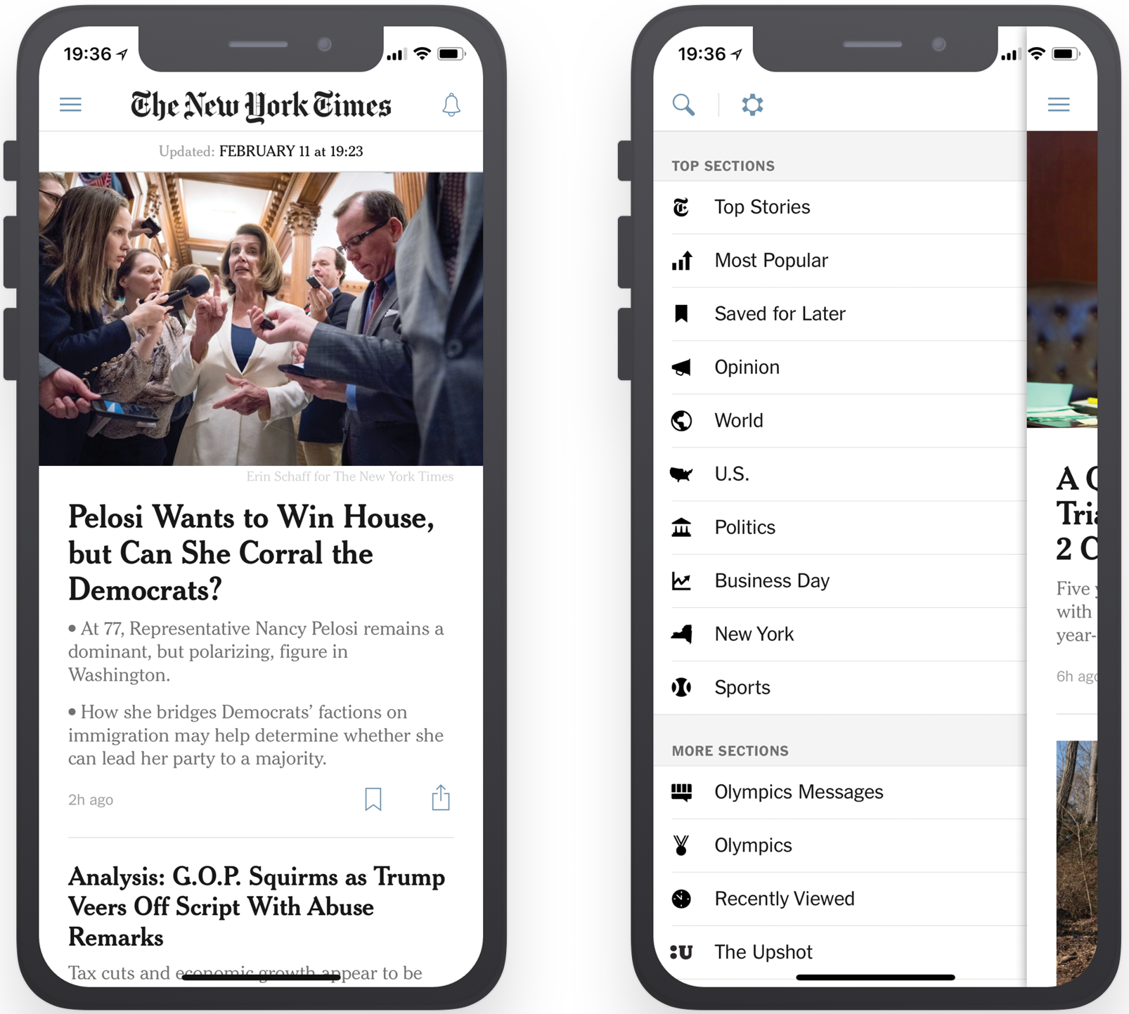Home screen and menu of existing NYT app