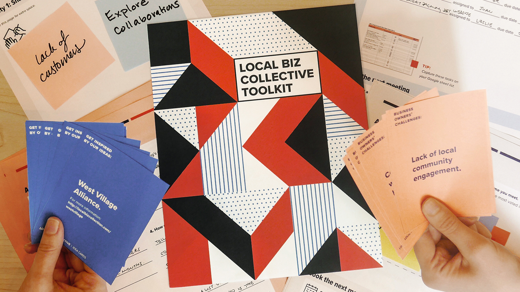 Image of final design of toolkit cover (middle), worksheets (background), idea cards (left) and challenge cards (right).