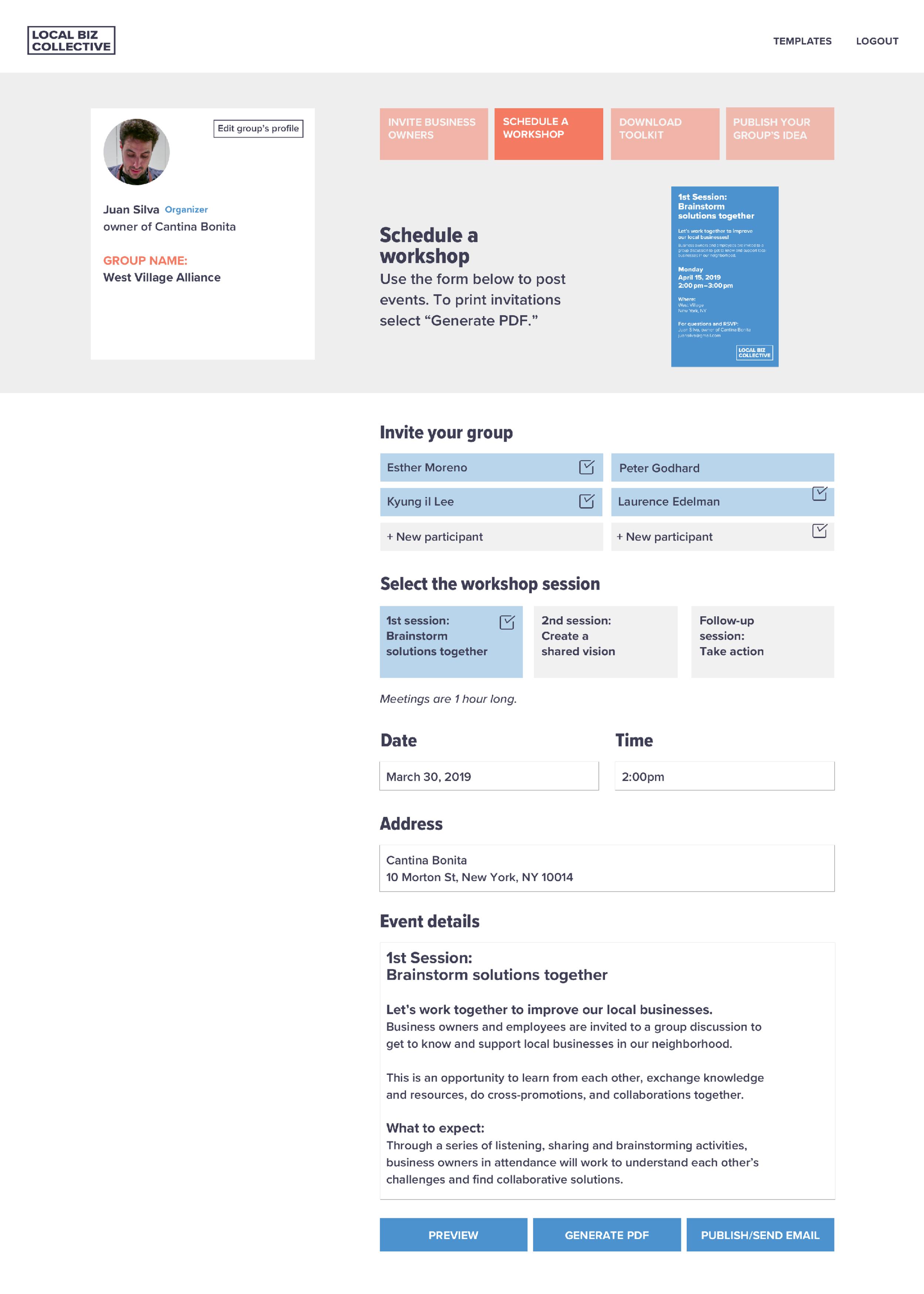 Dashboard: Schedule a workshop