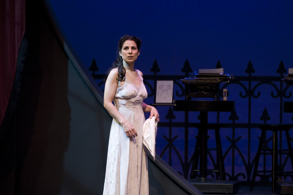 "Photo: Emily Cooper  ""Laara Sadiq combines intelligence with passion in a razor sharp performance as Rhoda""   -Colin Thomas, Georgia Straight"