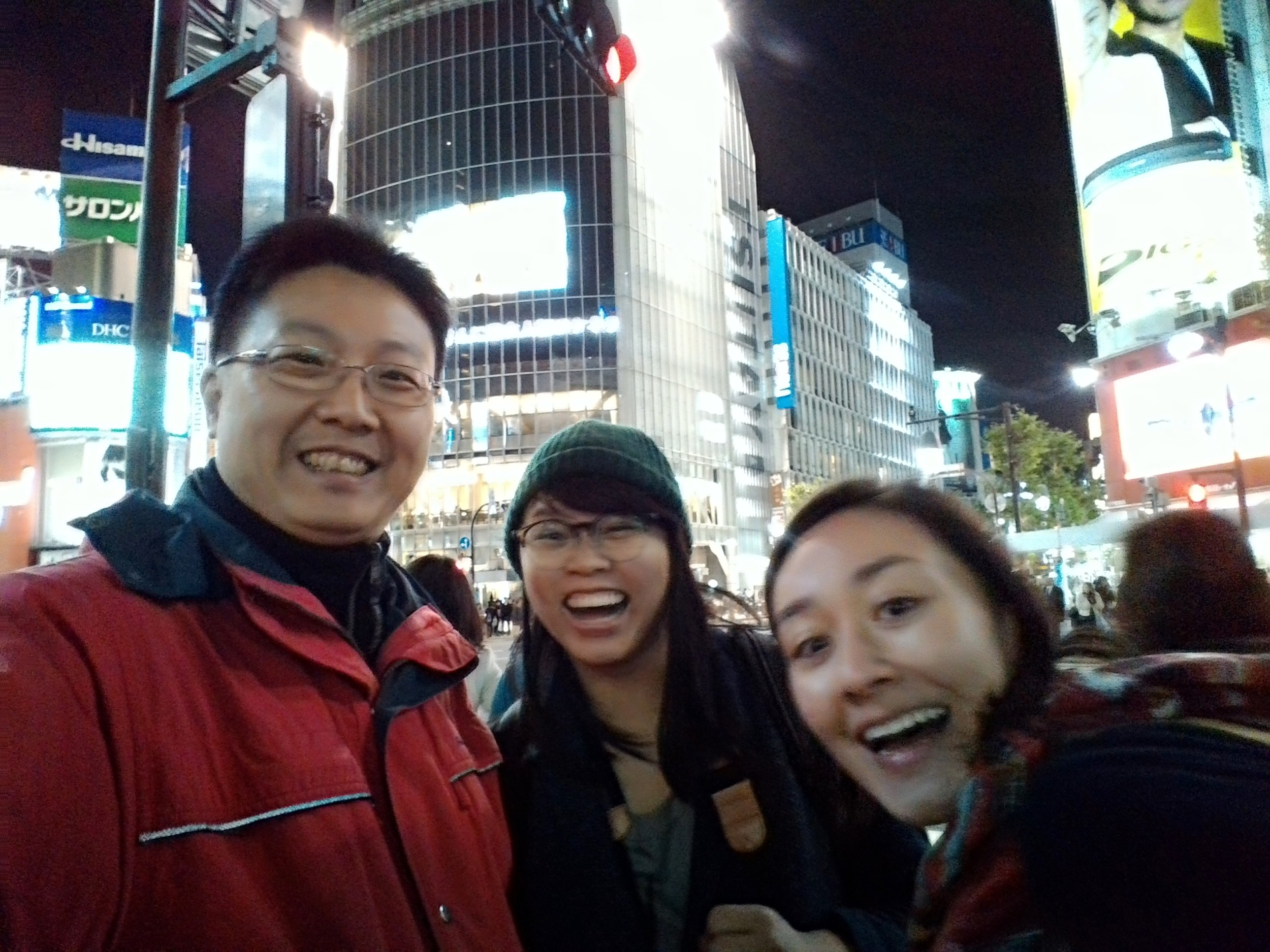 The team getting overexcited in Shibuya