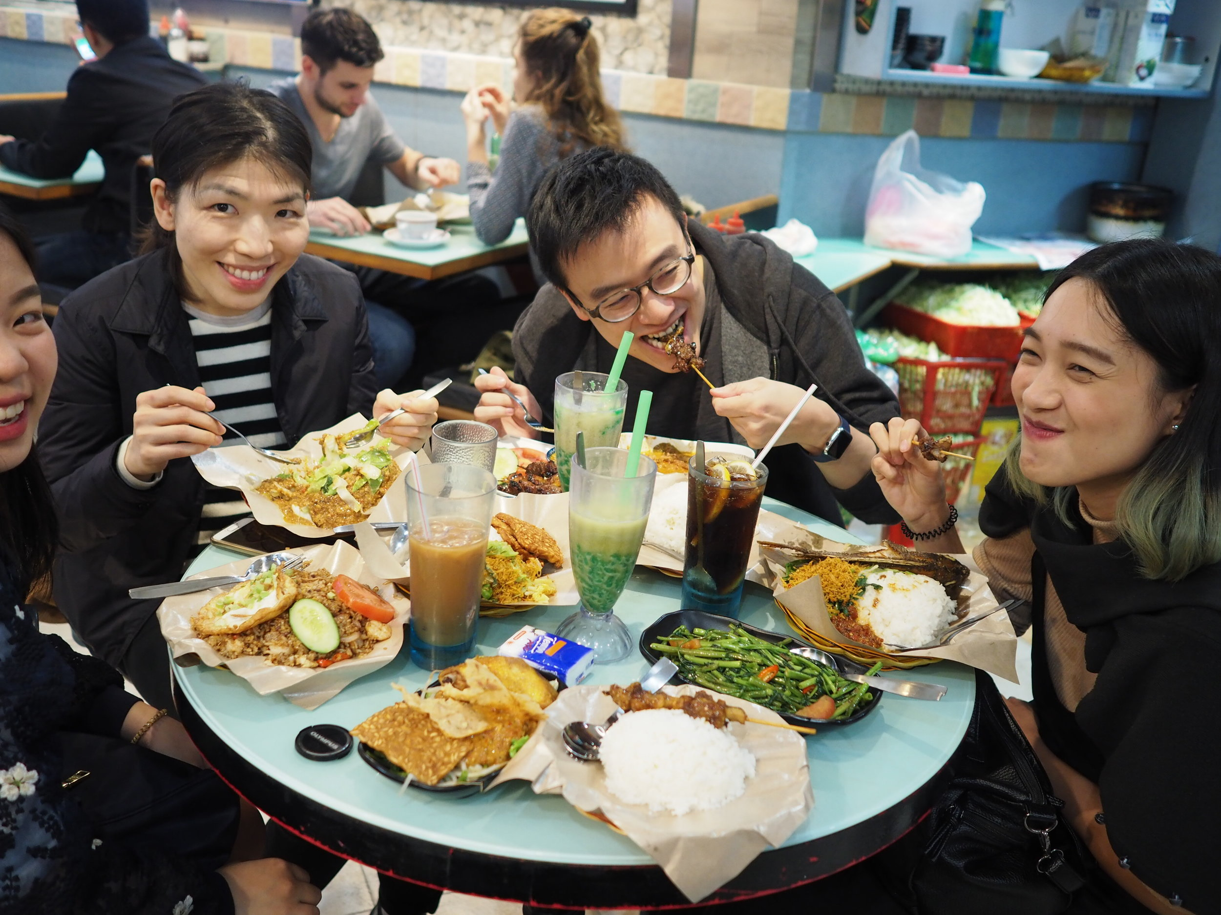 First timer Indonesian food! - The taste? look at that smiles! :D  Causeway Bay Station, Hong Kong.
