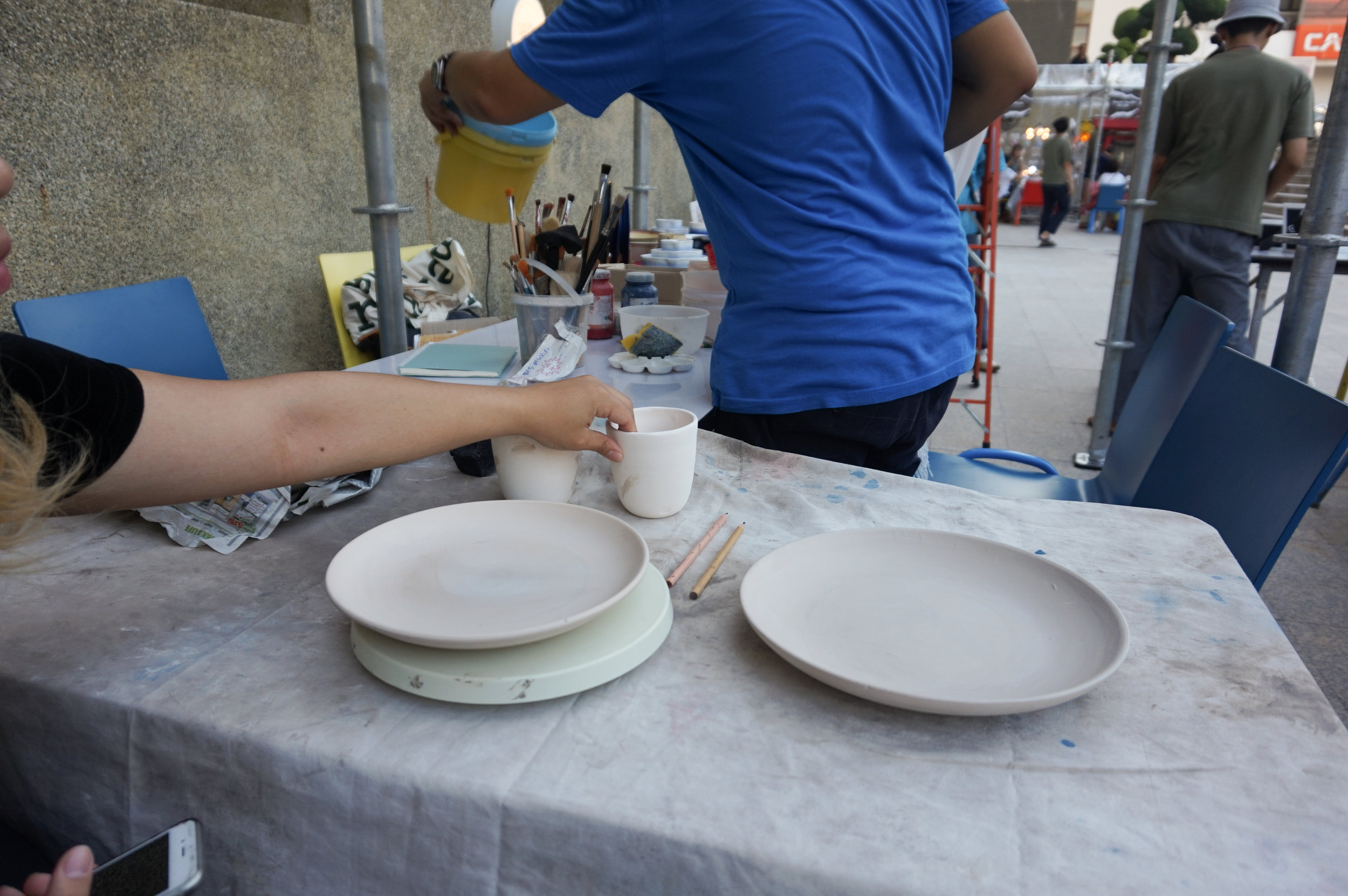 """The dinnerware set we chose to paint(2 porcelain cups, 8"""" stoneware plate, and 10"""" stoneware plate)"""