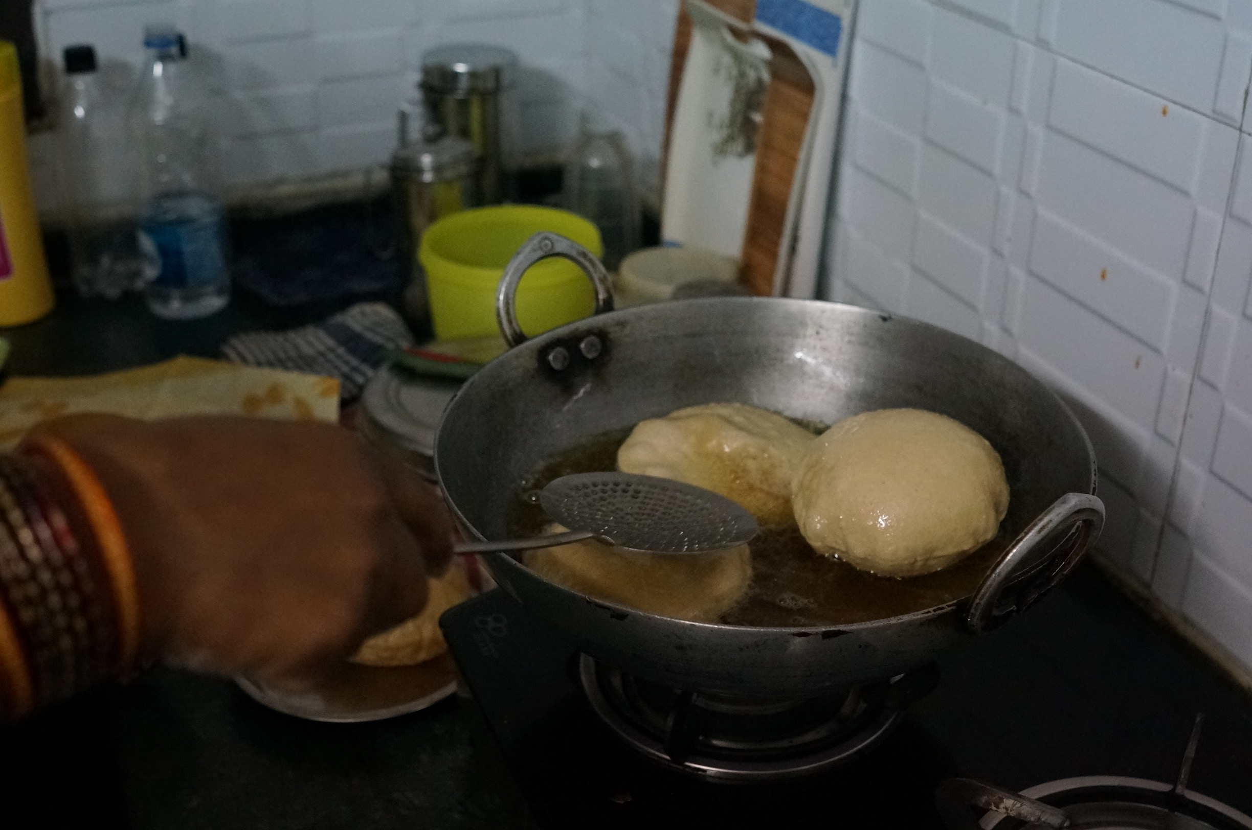 Puri / Poori - deep fried Indian bread usually served with a savory curry.