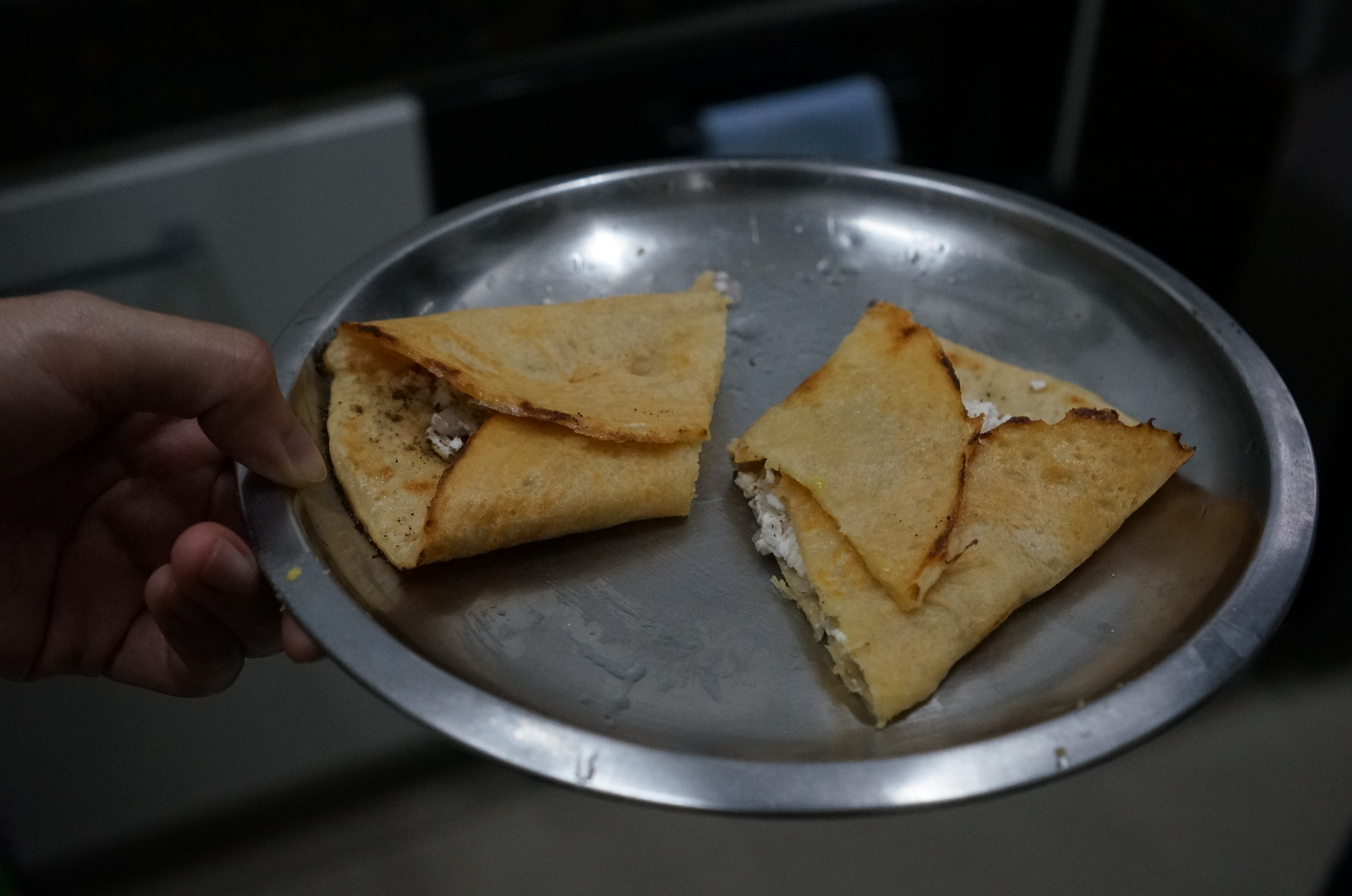 Chila - Indian pancake which usually served for breakfast. The batter was made from moong dal and this one stuffed with cottage cheese.
