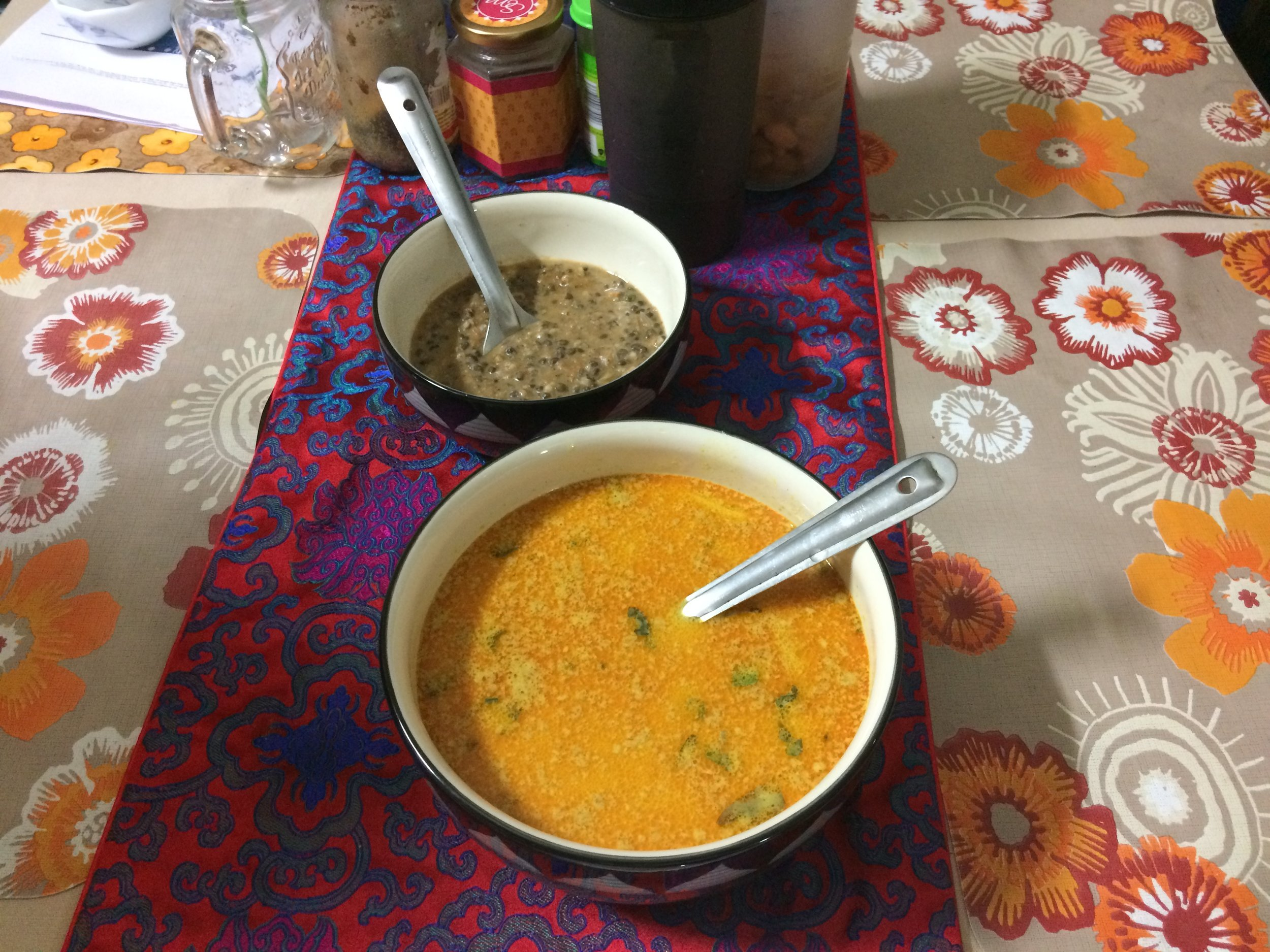Vegetarian Thai curry with side dish - Dal Makhani made from lentils cooked in loads and loads of butter.