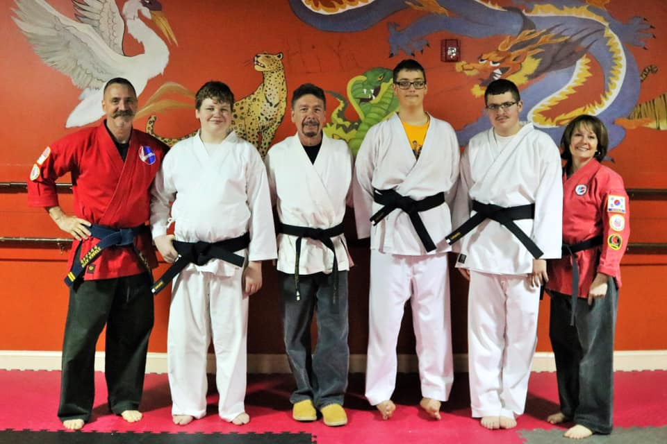 Black Belt Pandas! - Mt. Airy Mayor, Patrick Rockinberg, joins HiYa Karate for HiYa's first Black Belt Test for special needs. Congratulations to Jack Stile, Joey Looper and Jason Southworth for a well-earned 1st Dan Black Belt! -April, 2019