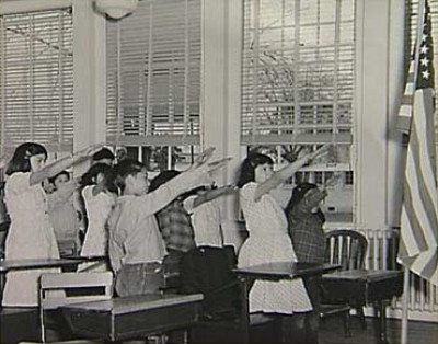 "The original pledge of allegiance, 1941, with ""the Bellamy salute,"" after Francis Bellamy, a nationalist/socialist author who wrote the original pledge in 1892. Francis had like-minded cousins in the brothers Edward and Charles Bellamy. Pre-1900 writings of all three Bellamys are quoted at this website for their confusion of the liberal lexicon."