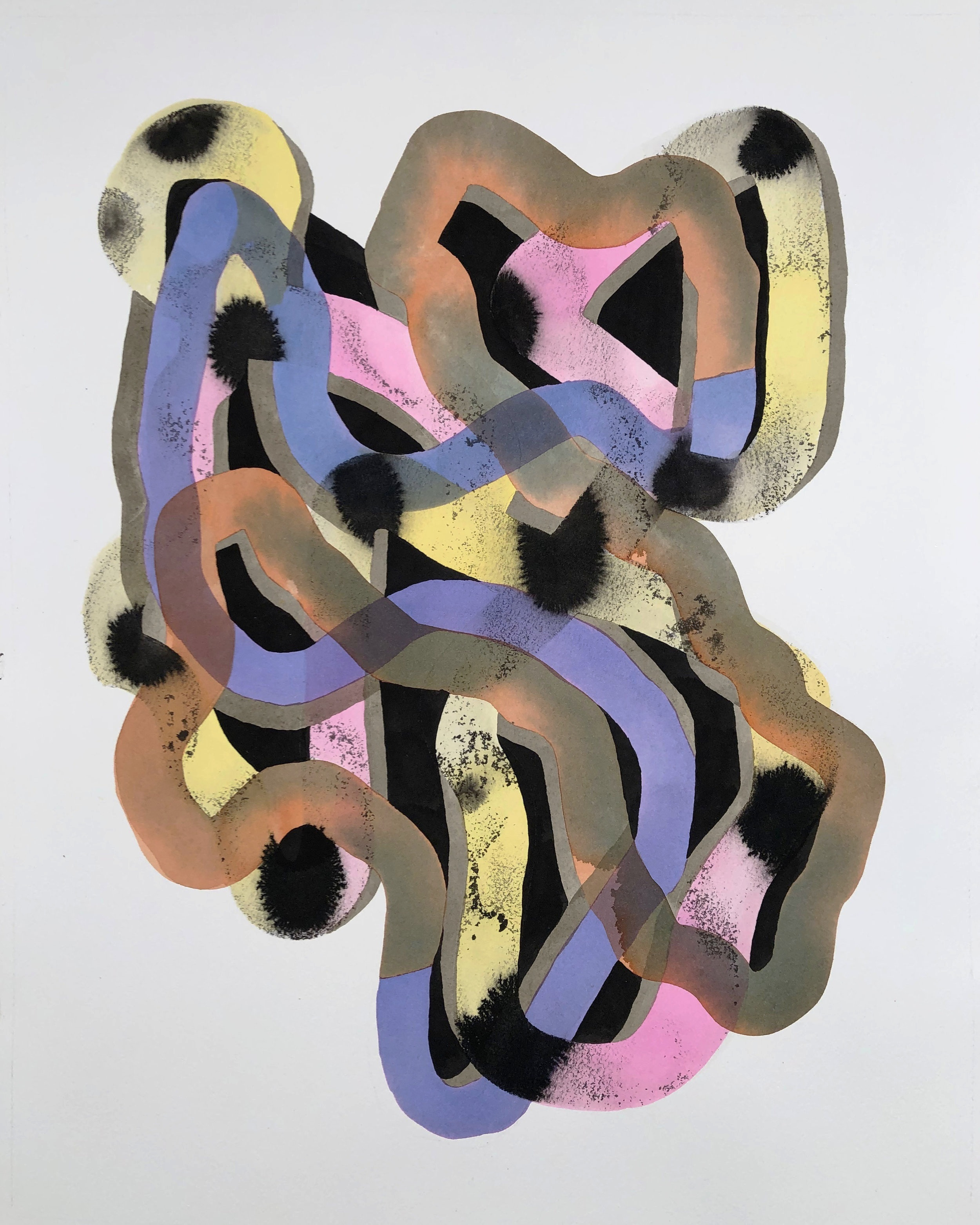 Tangled Beam #2  , 2018 , watercolor, ink-wash, and gouache on paper, 20 x 16 inches
