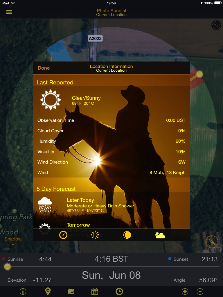 Photo Sundial app Weather Report    {click picture to enlarge}