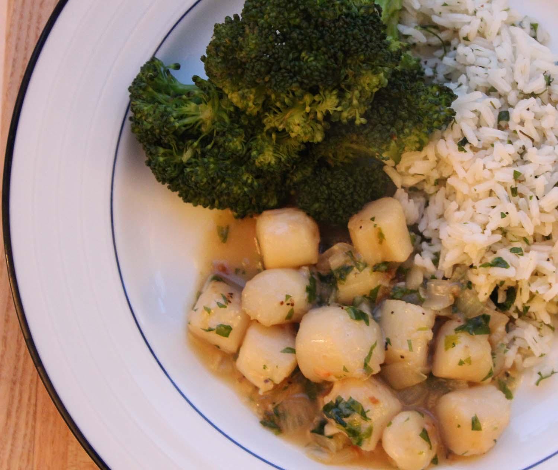 Scallops Provencal& Herbed Basmati Rice | Image:Laura Messersmith