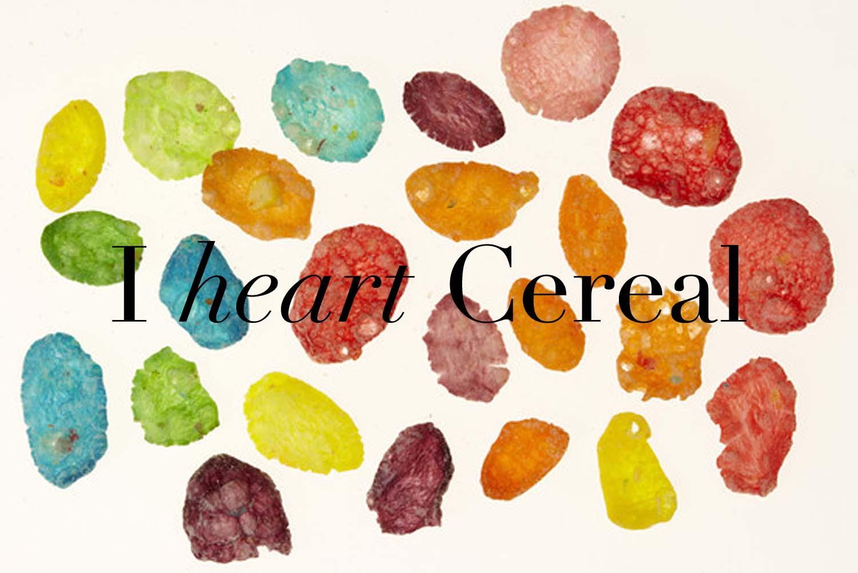 "I heart Cereal  |Image: ""Fruity Pebbles"" F. Martin Ramin via   Wall Street Journal  | Design: Laura Messersmith"