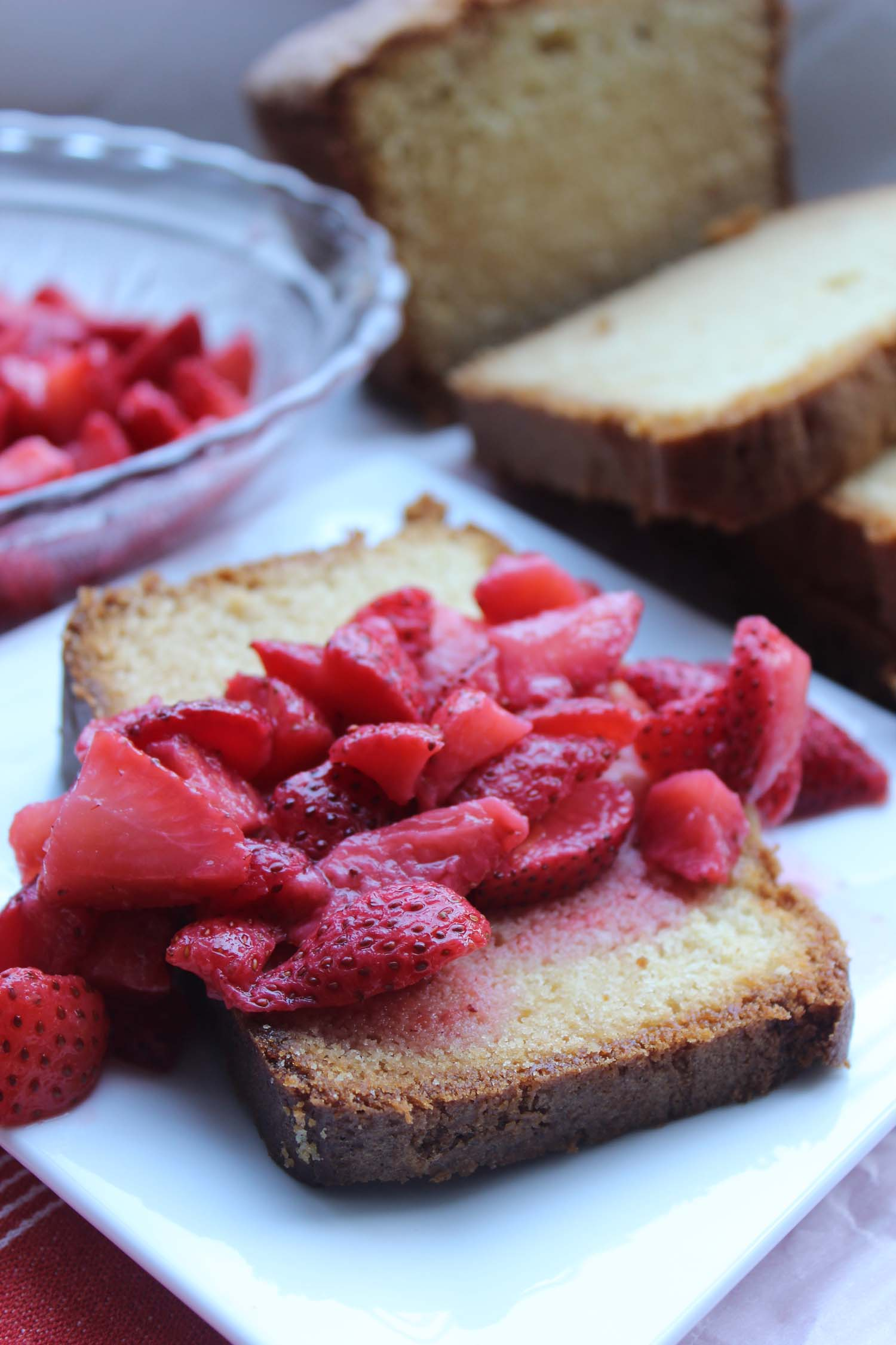 Honey Vanilla Pound Cake with Strawberries  | Image:  Laura Messersmith
