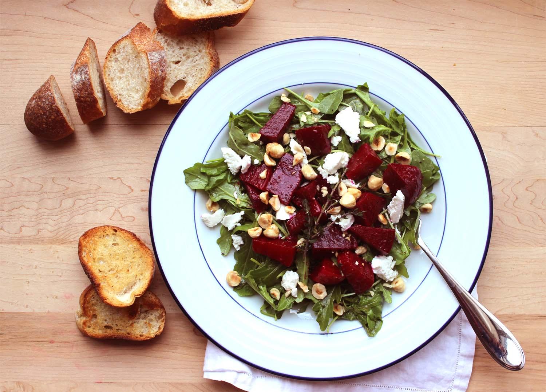 Roasted Beet Salad with Arugula, Goat Cheese and Hazelnuts  | Image:  Laura Messersmith
