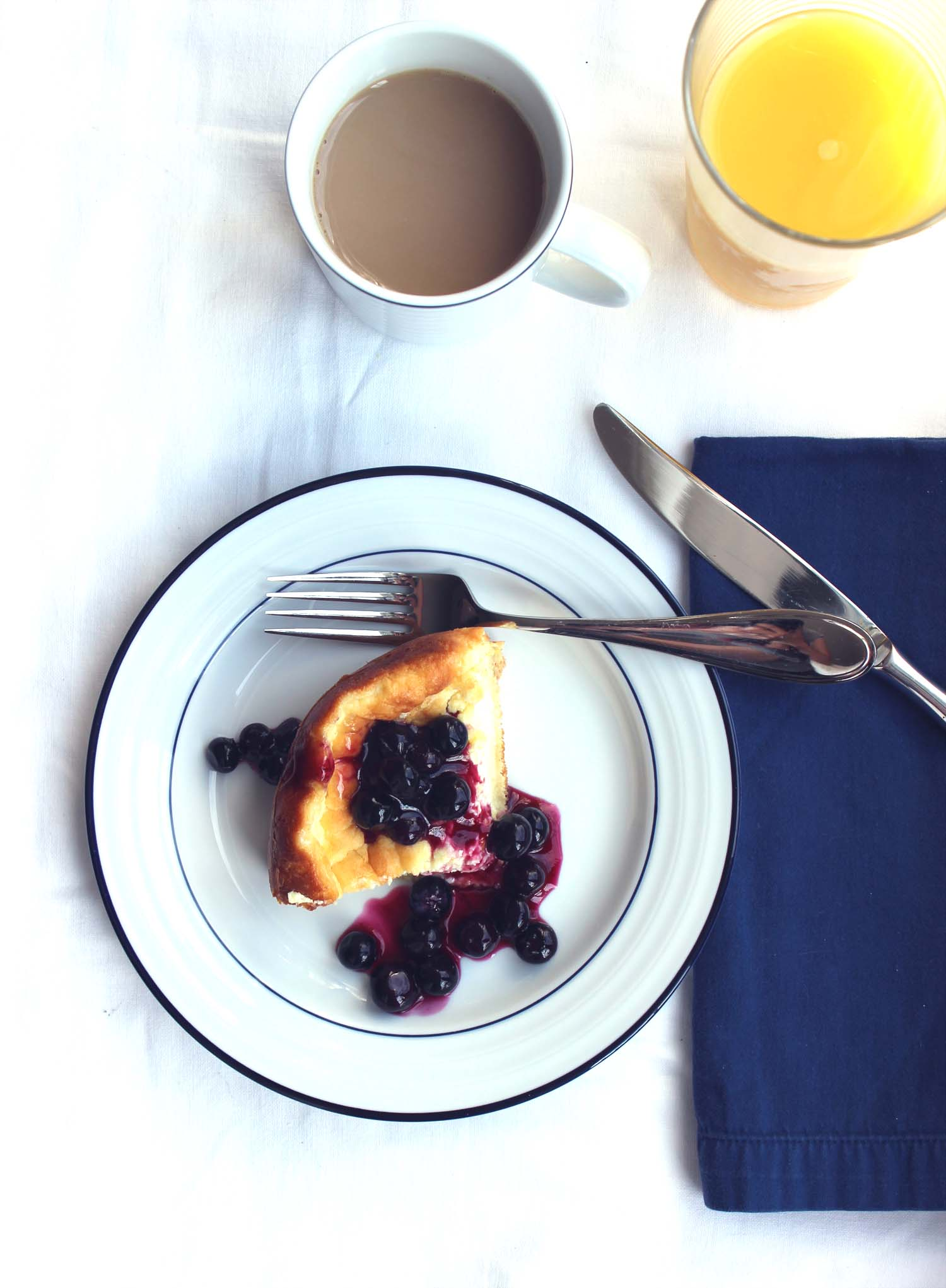 Baked Blintzes with Blueberry Sauce   | Image:   Laura Messersmith
