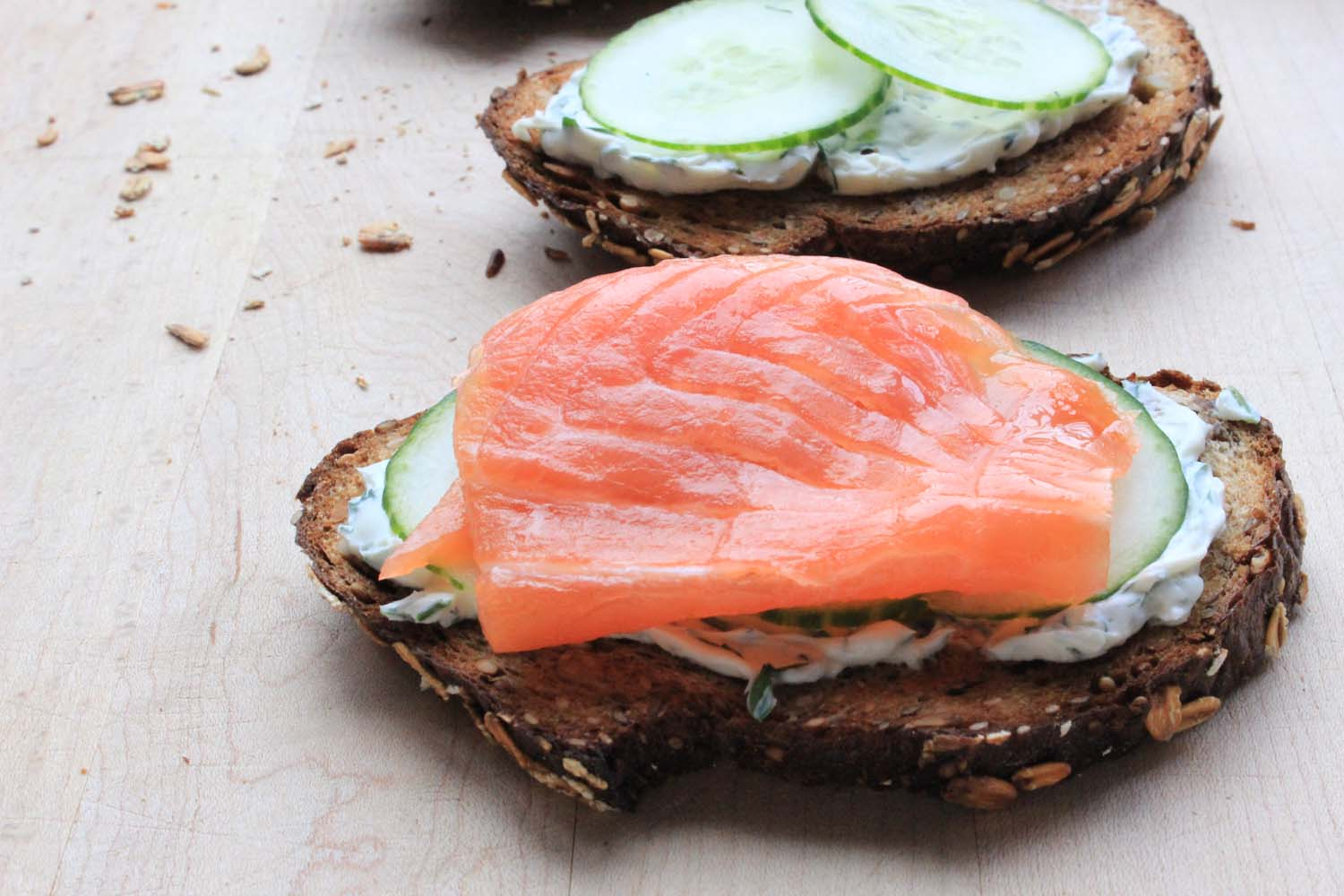 Smoked Salmon and Cucumber Tartines with Herbed Cream Cheese   | Image:   Laura Messersmith