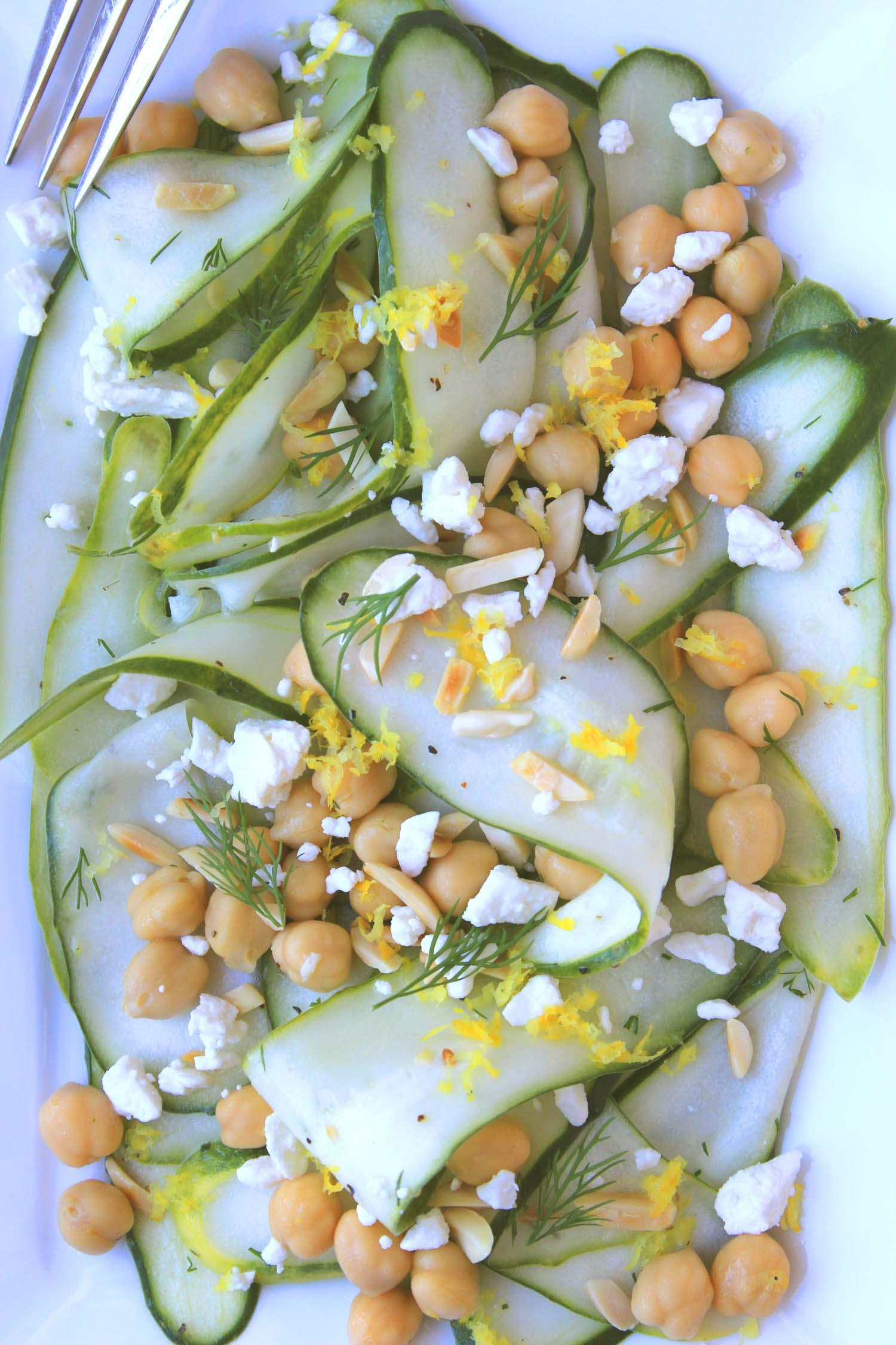 Lemony Cucumber Salad with Chickpeas  | Image:  Laura Messersmith