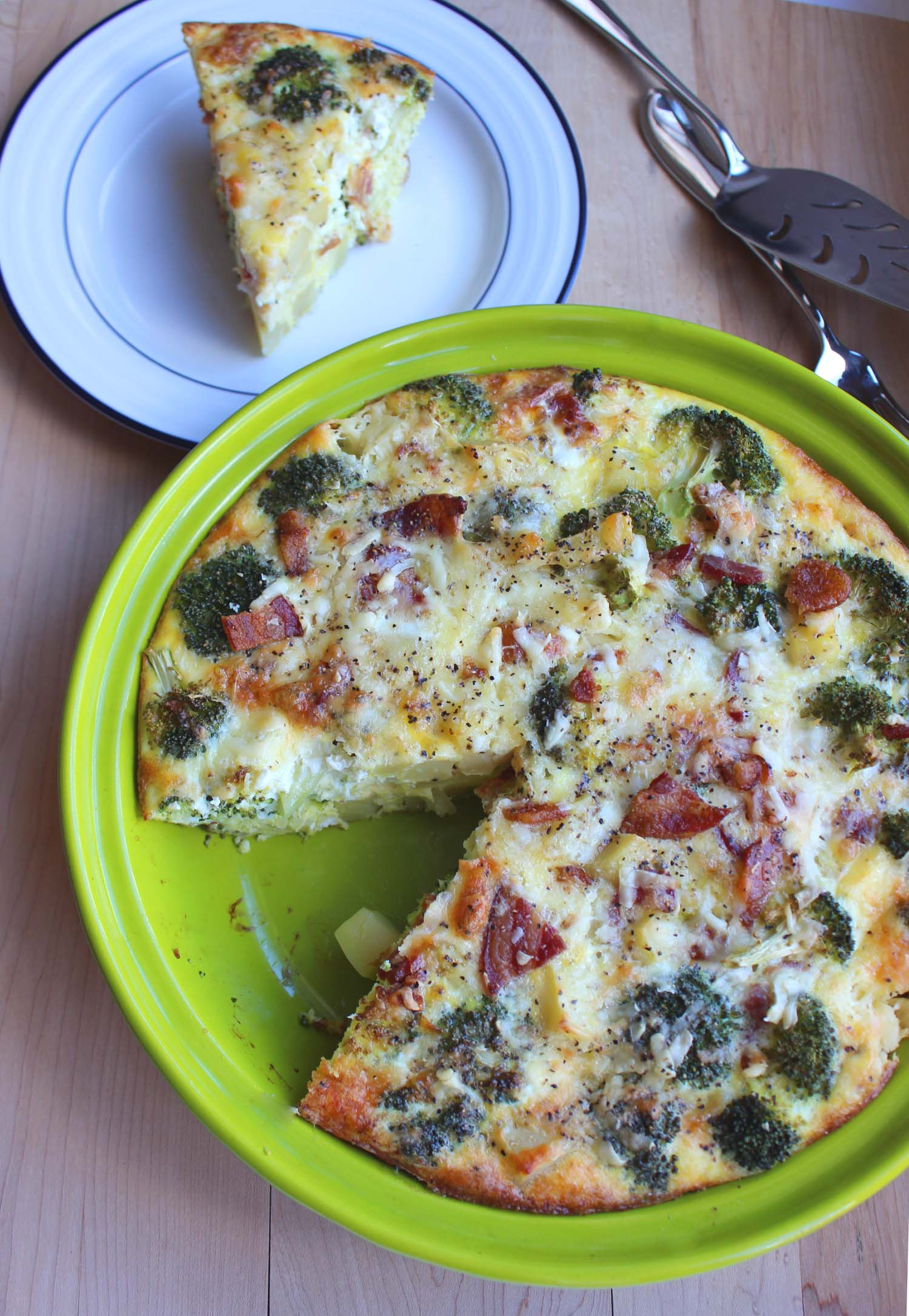 Cheddar Broccoli Frittata with Crispy Bacon  | Image:  Laura Messersmith