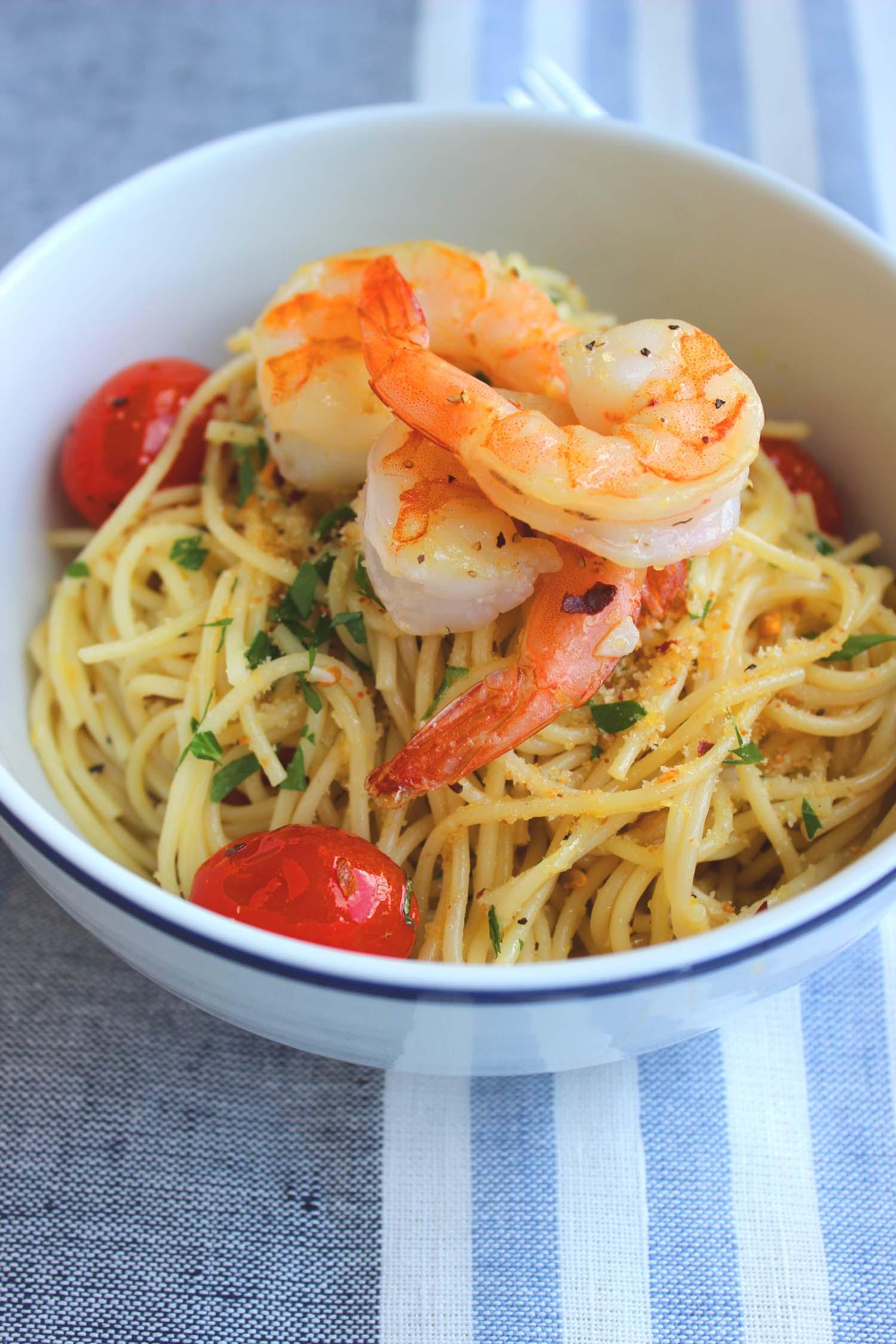 Lemon Pasta with Shrimp & Roasted Tomatoes  | Image:  Laura Messersmith