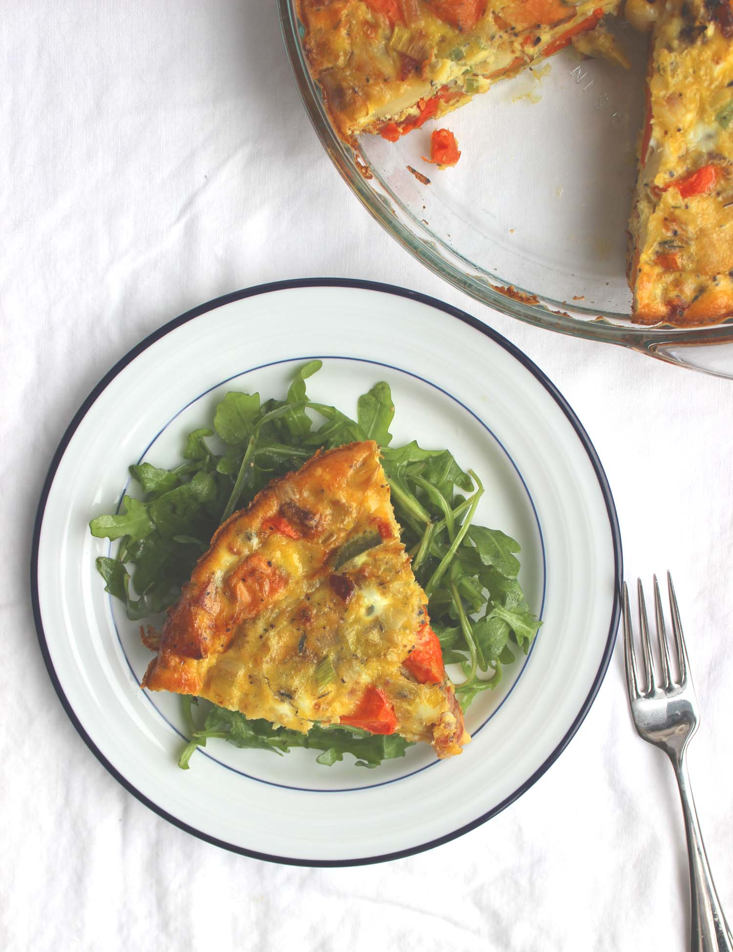 Roasted Root Vegetable, Leek, & Bacon Frittata    | Image:   Laura Messersmith