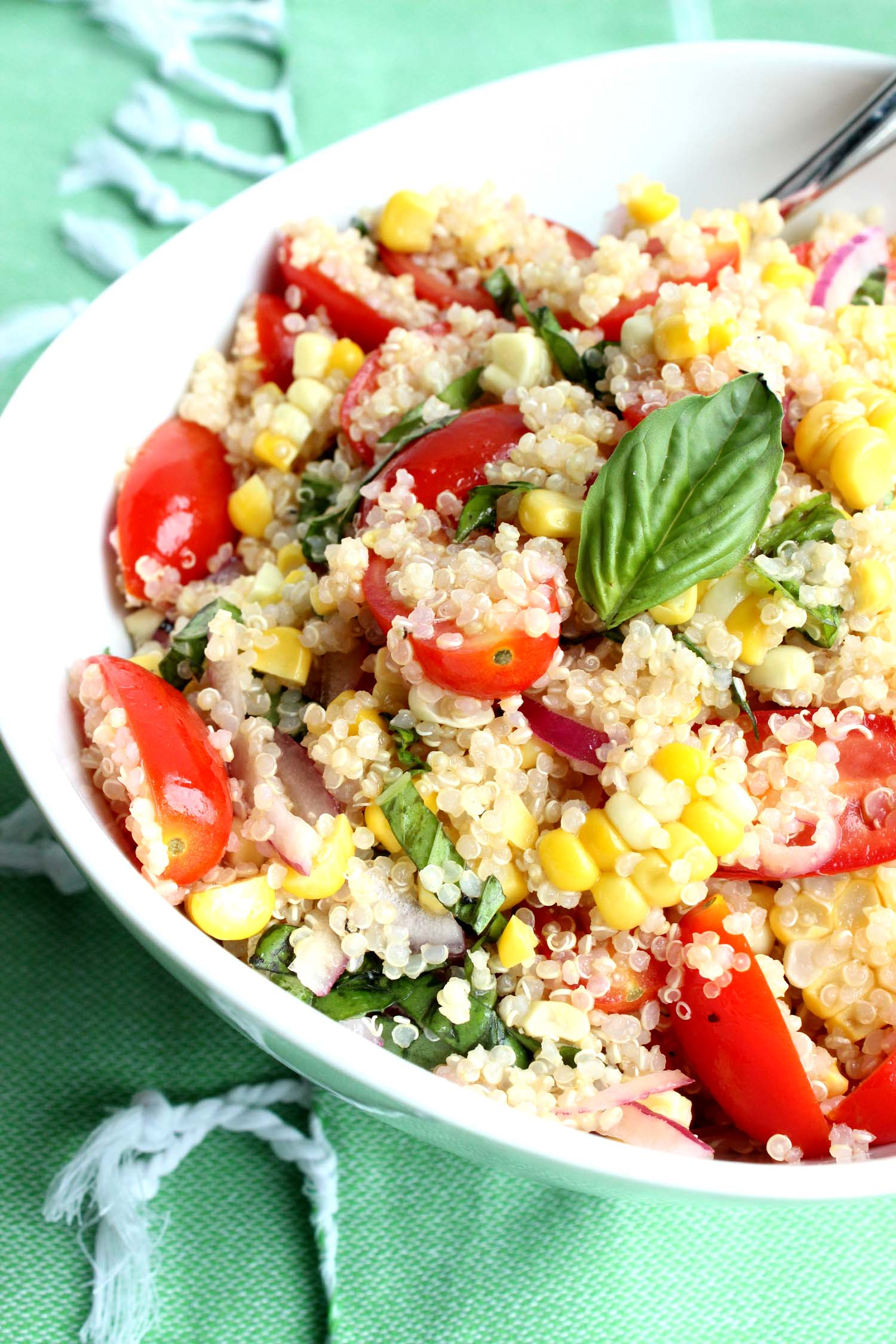 Basil, Corn & Quinoa Salad    Image:  Laura Messersmith