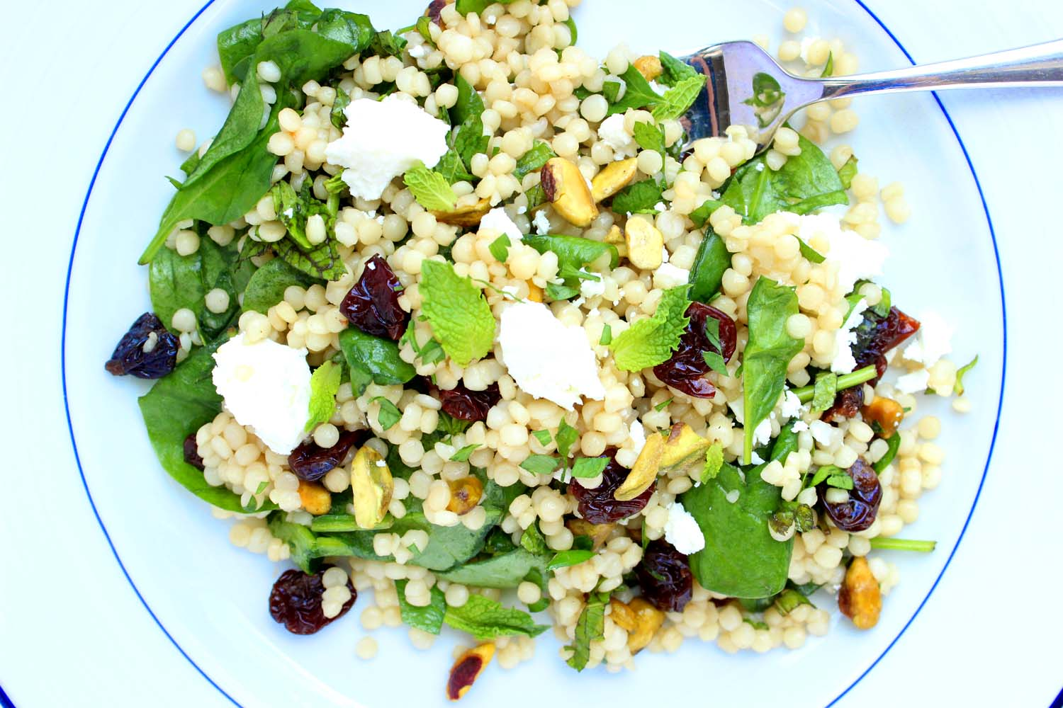 Israeli Couscous with Cherries & Pistachios   | Image:   Laura Messersmith