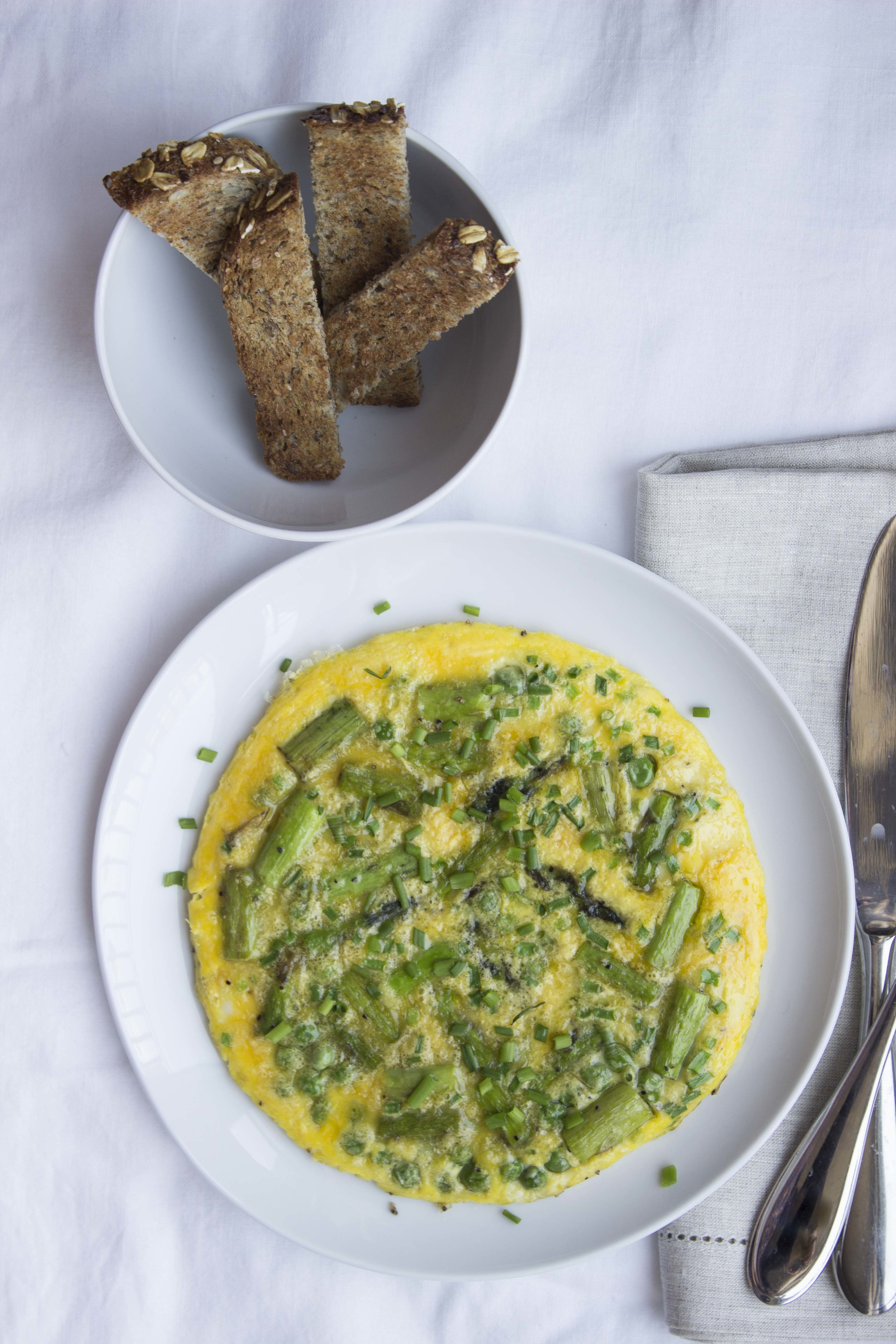 Spring Omelet with Asparagus and Peas  | Image:  Laura Messersmith