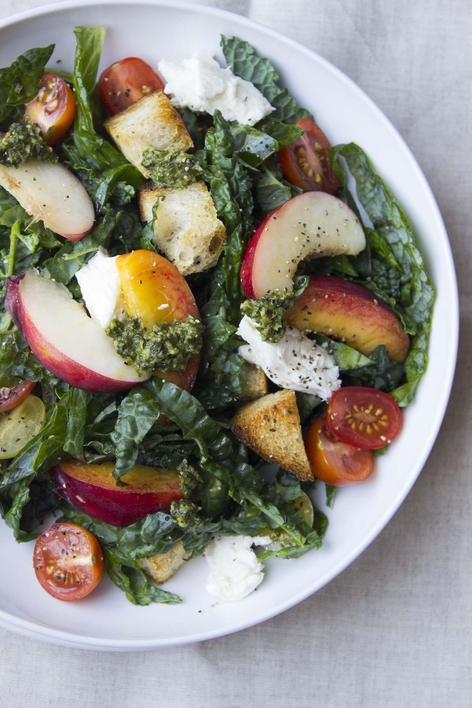 Summer Panzanella Salad with Pesto Vinaigrette  | Image:  Laura Messersmith