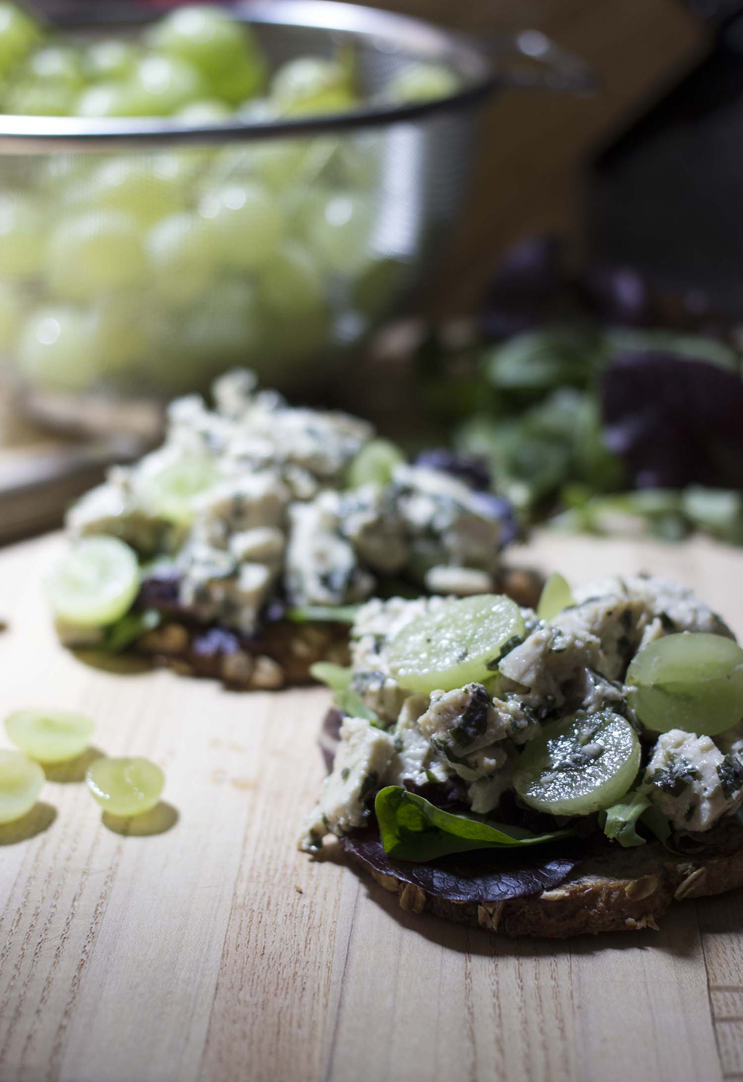 Basil Chicken Salad Tartines  | Image:  Laura Messersmith