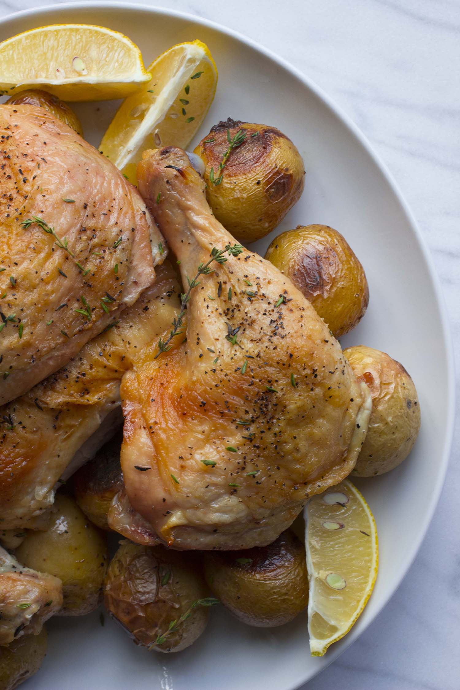 Parisian Roast Chicken with Tiny Potatoes  | Image:  Laura Messersmith