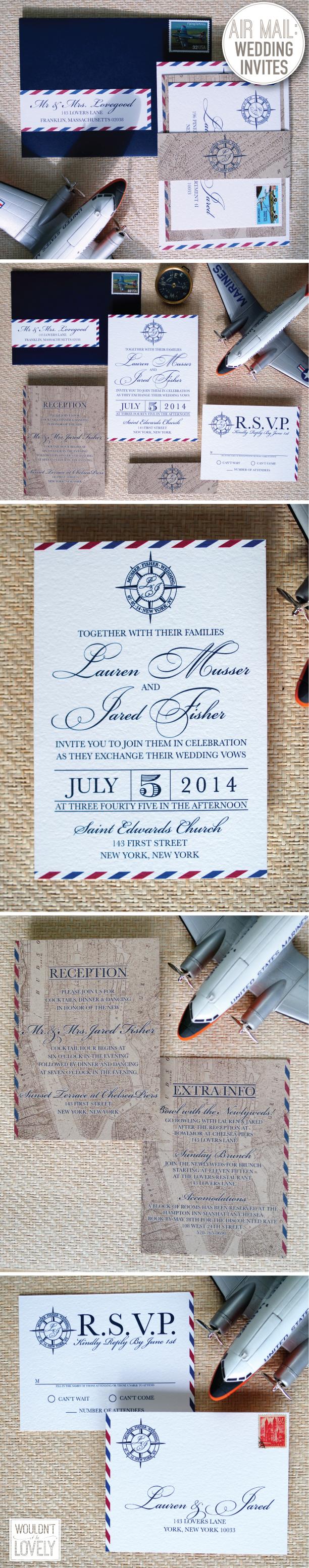 Air Mail Wedding Invitation Suite
