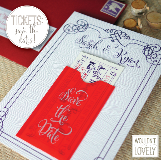 Save the date mini pocket with ticket
