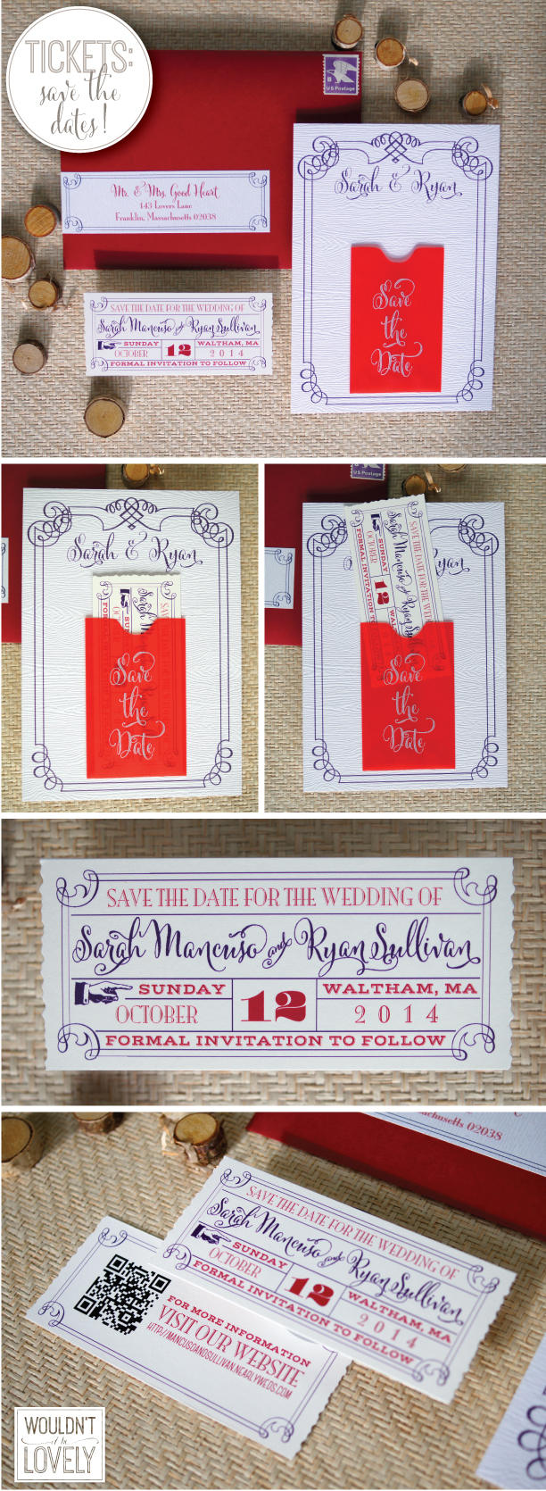Wedding Save the Date mini pocket and ticket