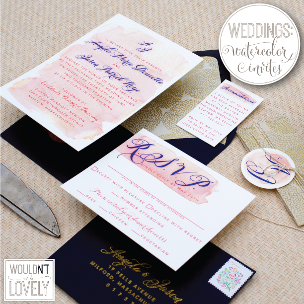 pink and navy watercolor wedding invitations