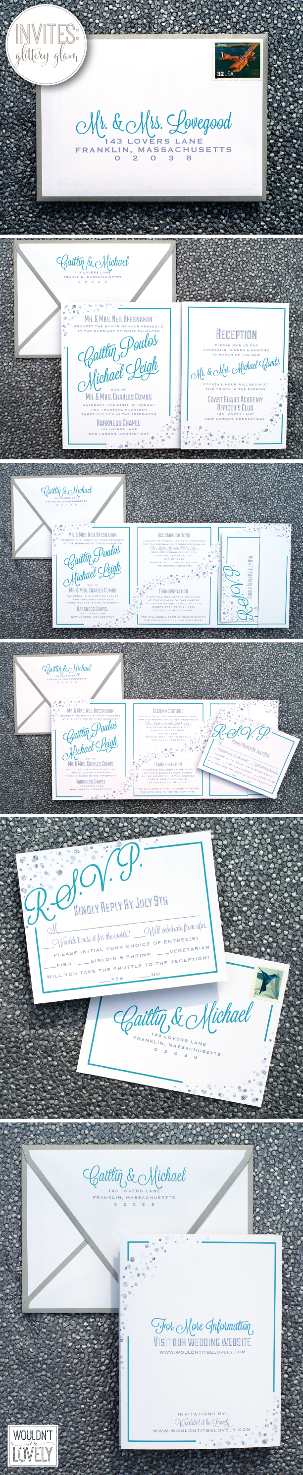 traditional and glam wedding invitation suite custom design