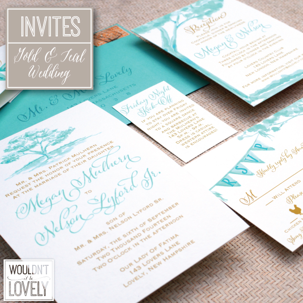 teal and gold wedding invitation