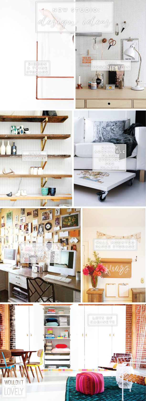 hanging copper pipes ,  peg board ,  shelves ,  desktop with   casters, giant pin board ,  paper rolls ,  cabinets