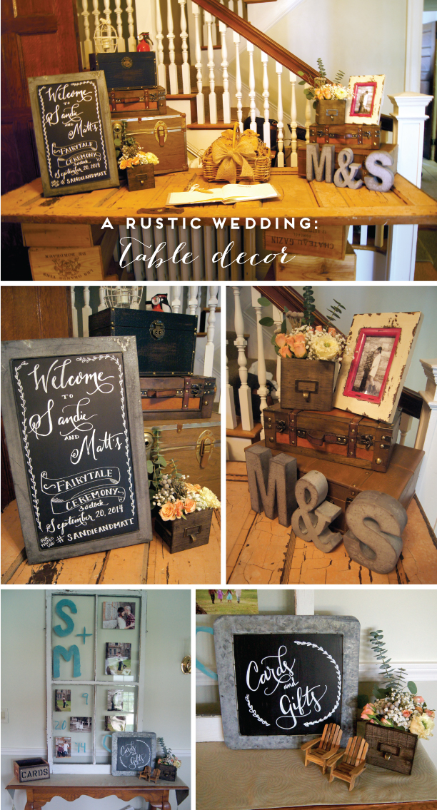 Rustic Wedding Door Table and Suitcase decor