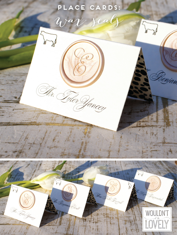 white black and gold wedding place cards with dalmation print