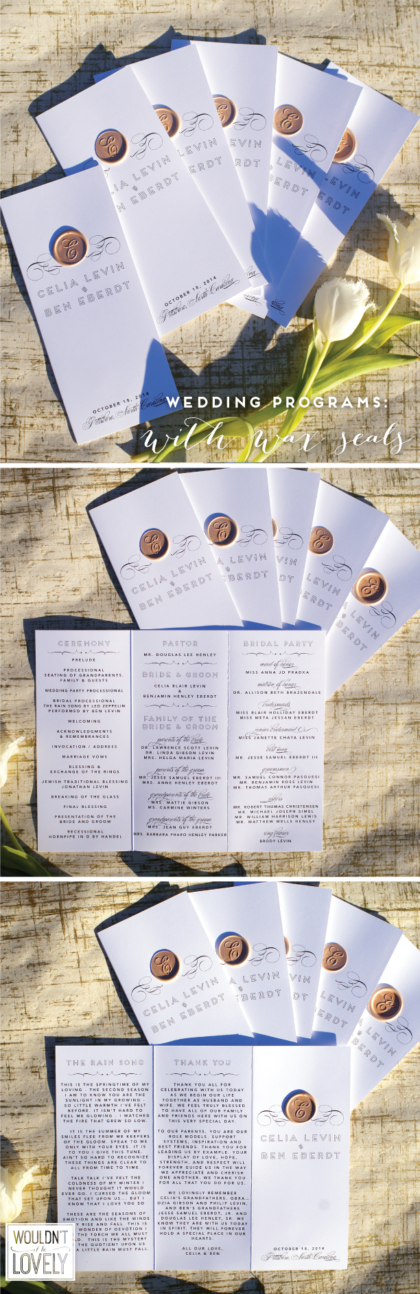 white black and gold wedding programs, trifold