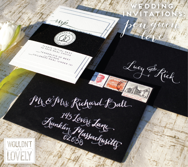 black and white wedding invitations with penguins