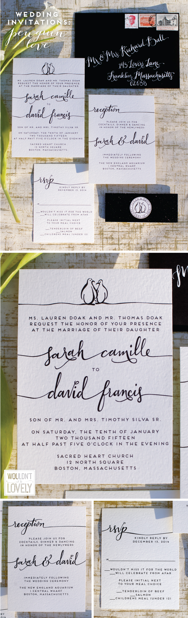 black and white custom designed wedding invitation suite with penguins