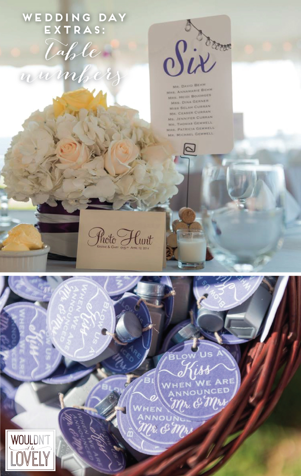 custom designed wedding table numbers and bubble tags