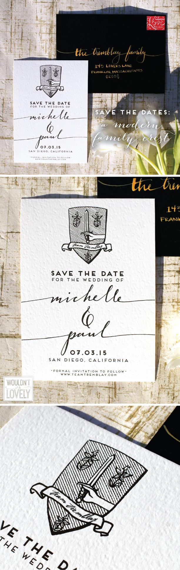 custom designed family crest wedding save the dates